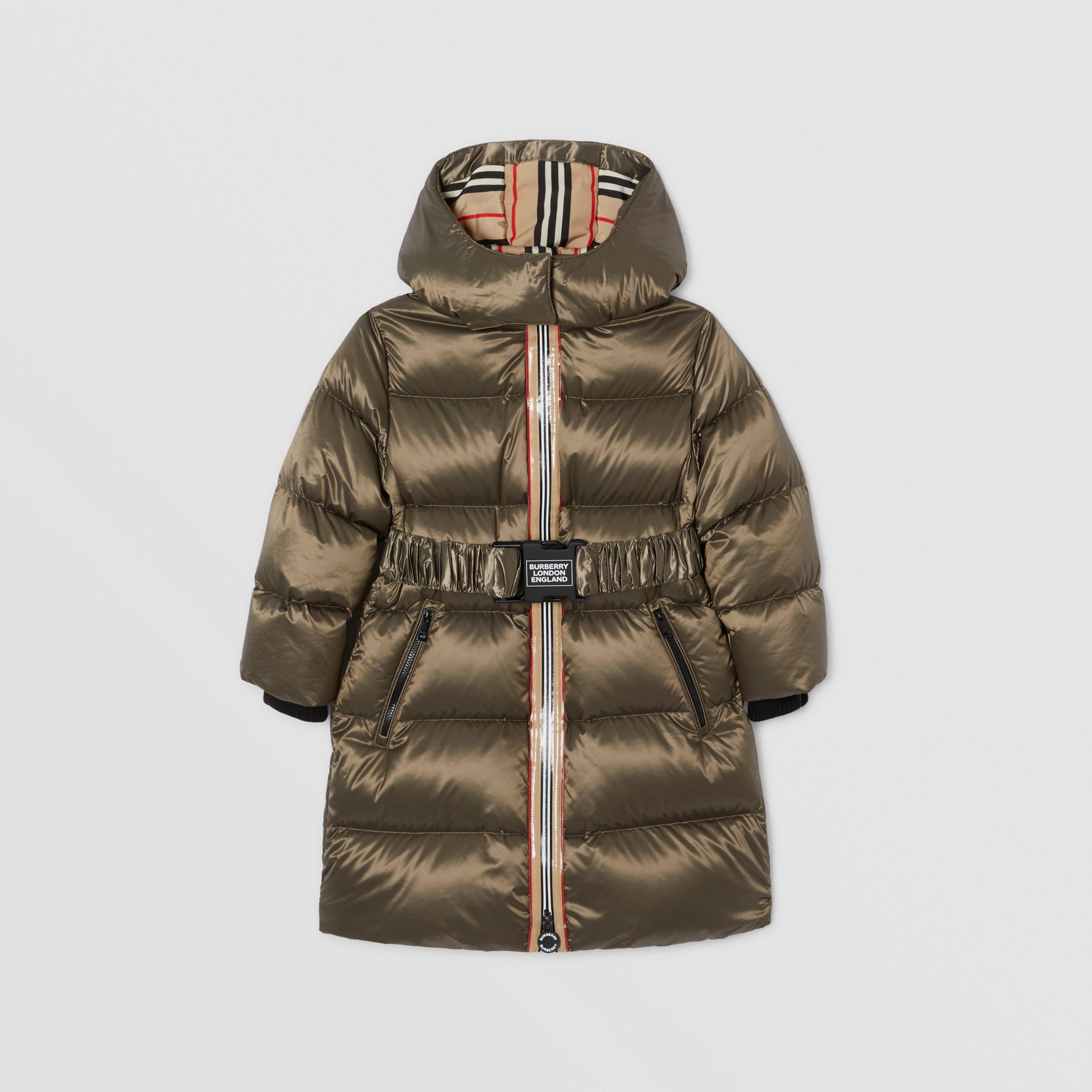Icon Stripe Trim Hooded Puffer Coat in Smoke | Burberry - 1