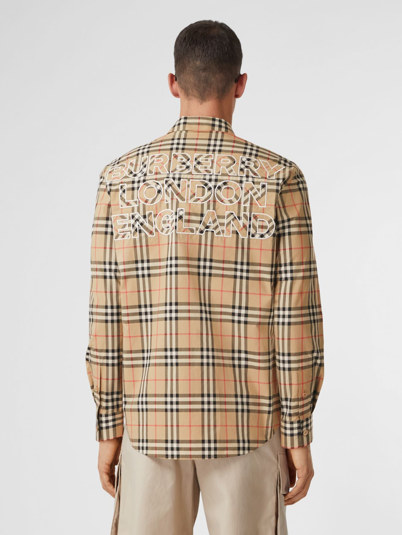 Logo Appliqué Vintage Check Cotton Shirt in Archive Beige