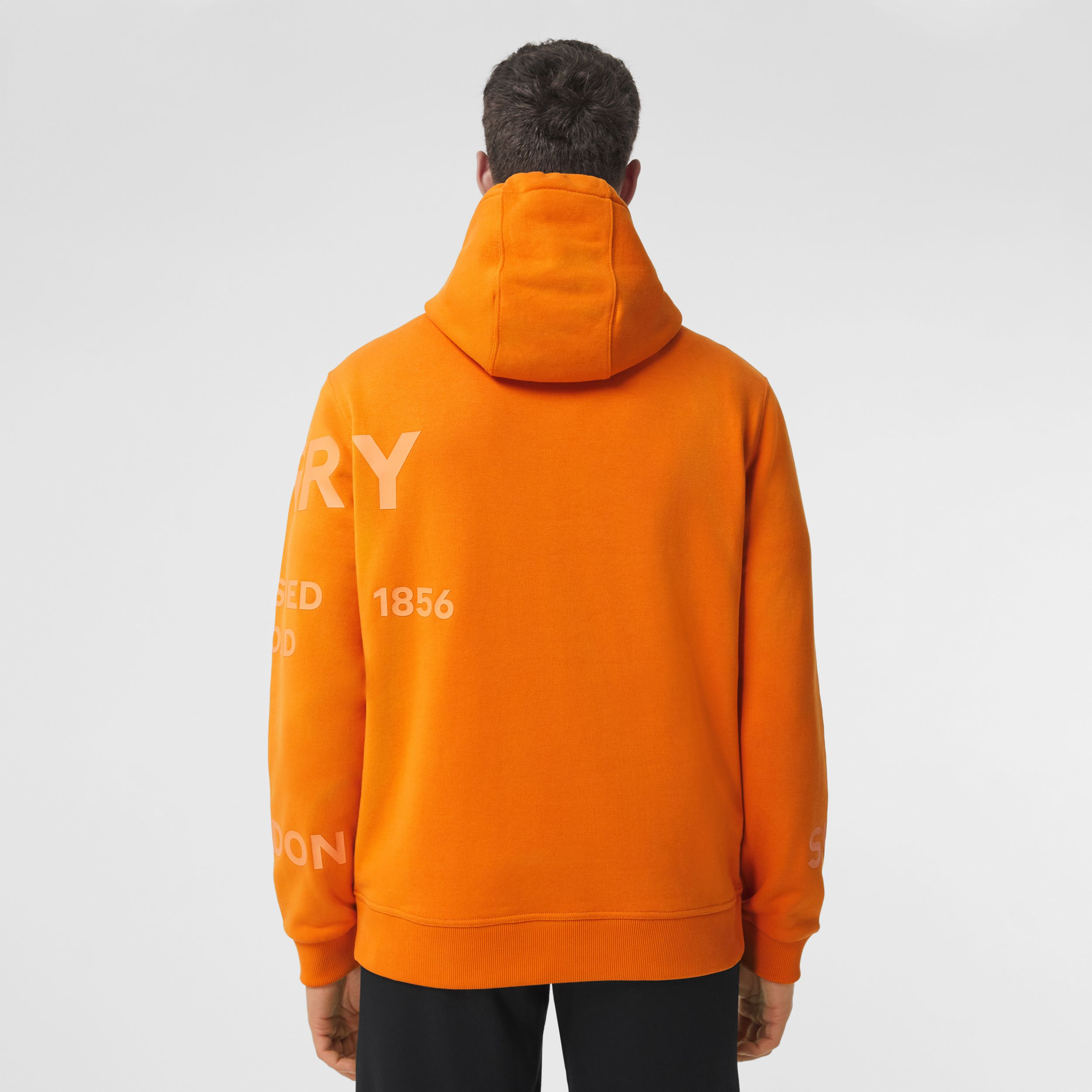 Horseferry Print Cotton Hoodie in Deep Orange - Men | Burberry - 3