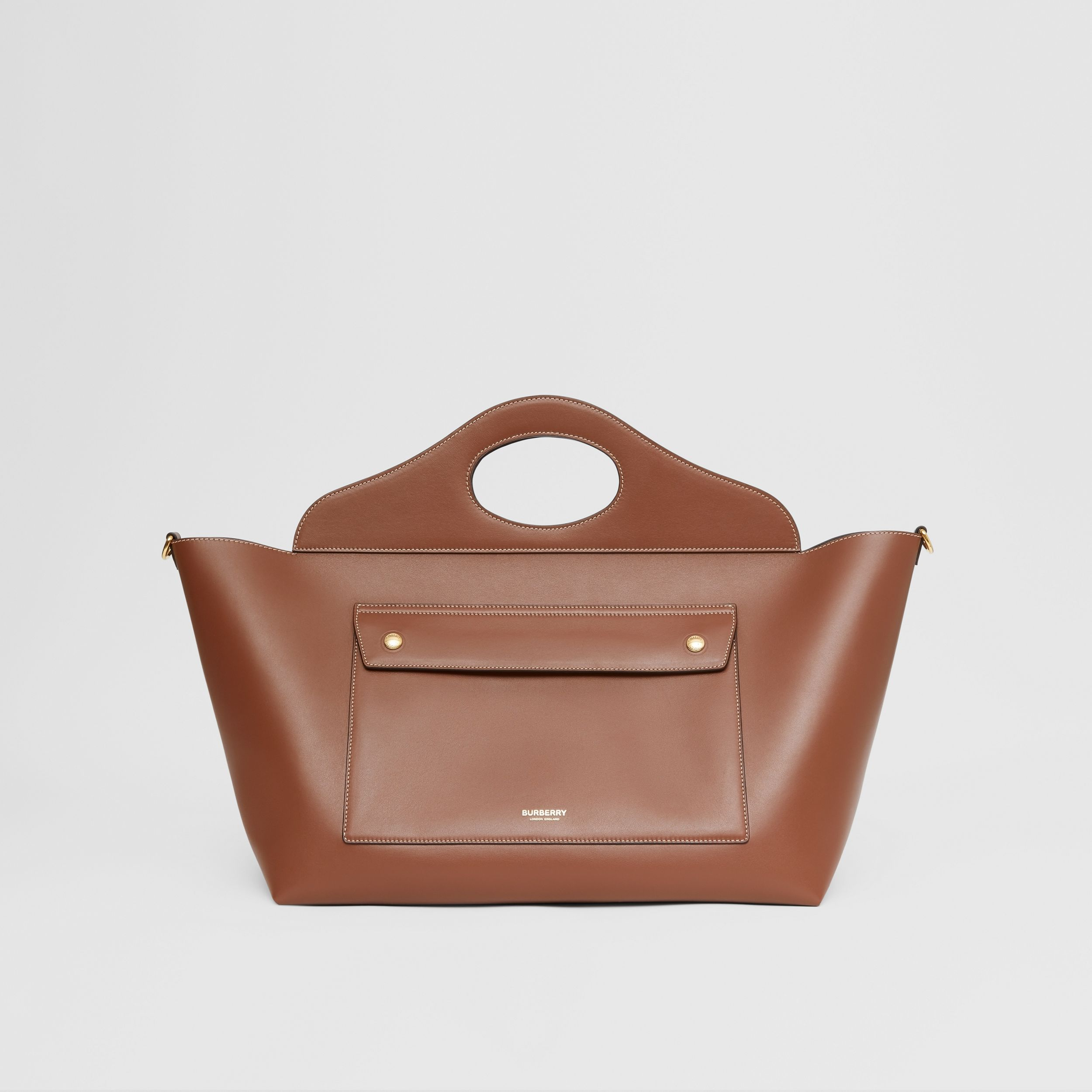 Medium Leather Soft Pocket Tote in Tan - Women | Burberry - 1