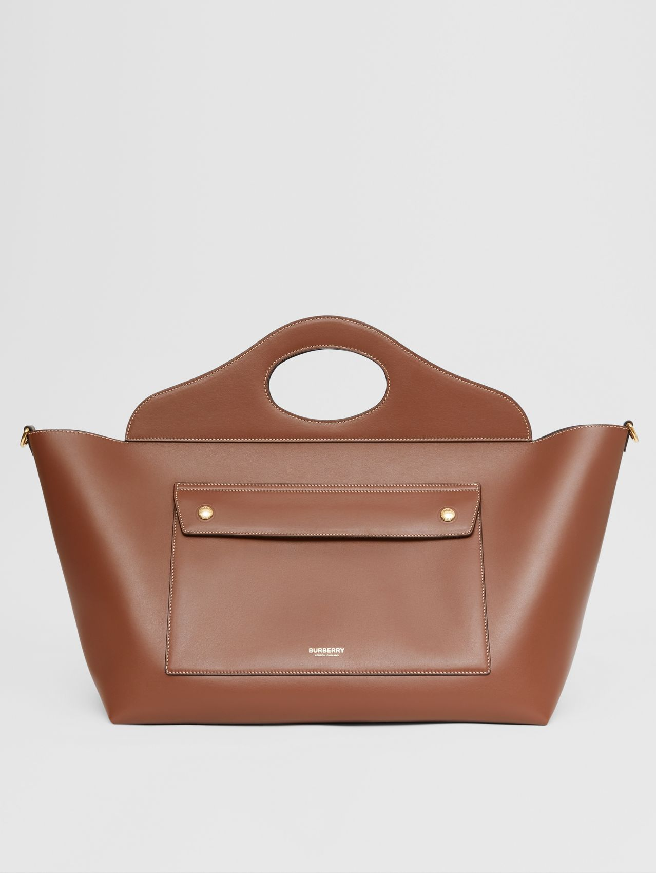 Medium Leather Soft Pocket Tote in Tan