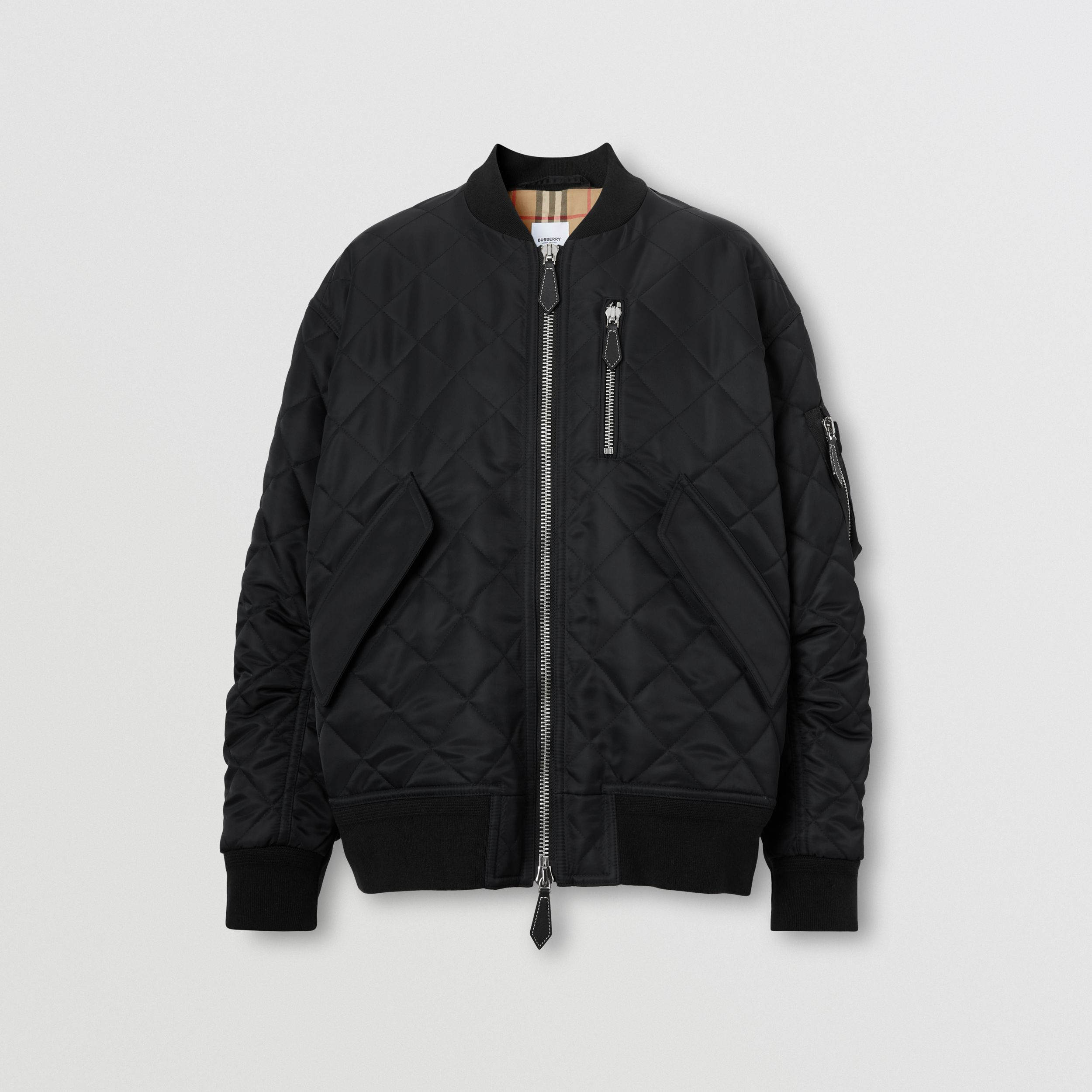 Diamond Quilted Nylon and Cotton Bomber Jacket in Black/black - Women | Burberry - 4