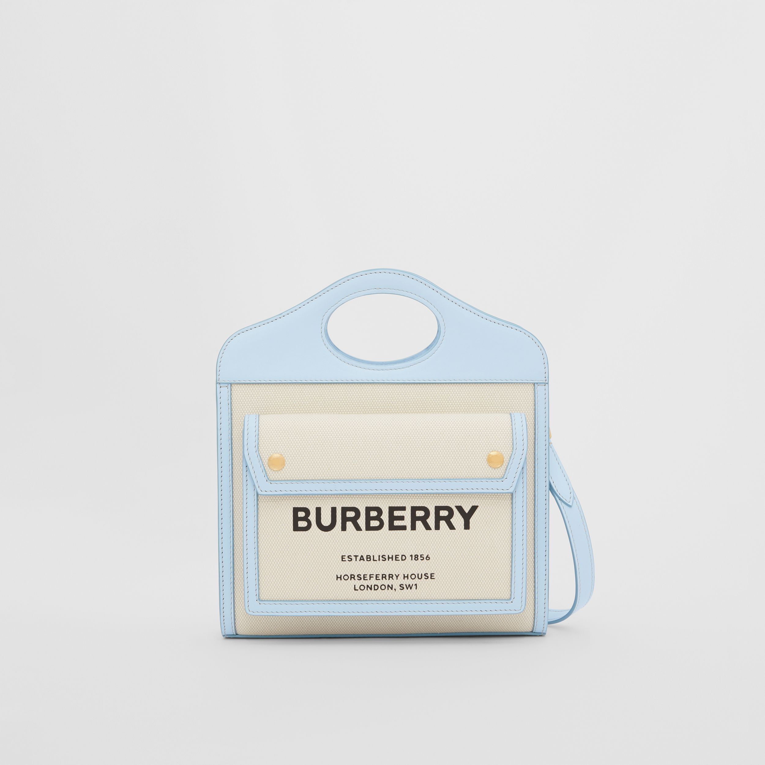 Mini Two-tone Canvas and Leather Pocket Bag in Natural/pale Blue | Burberry - 1