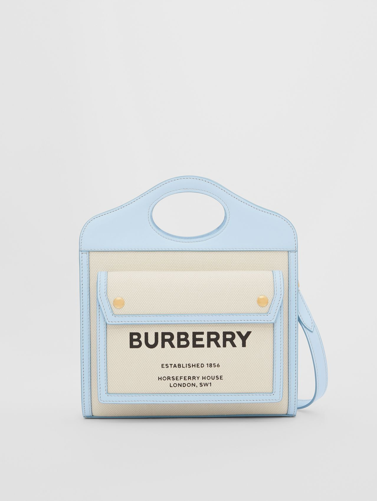 Mini Two-tone Canvas and Leather Pocket Bag in Natural/pale Blue