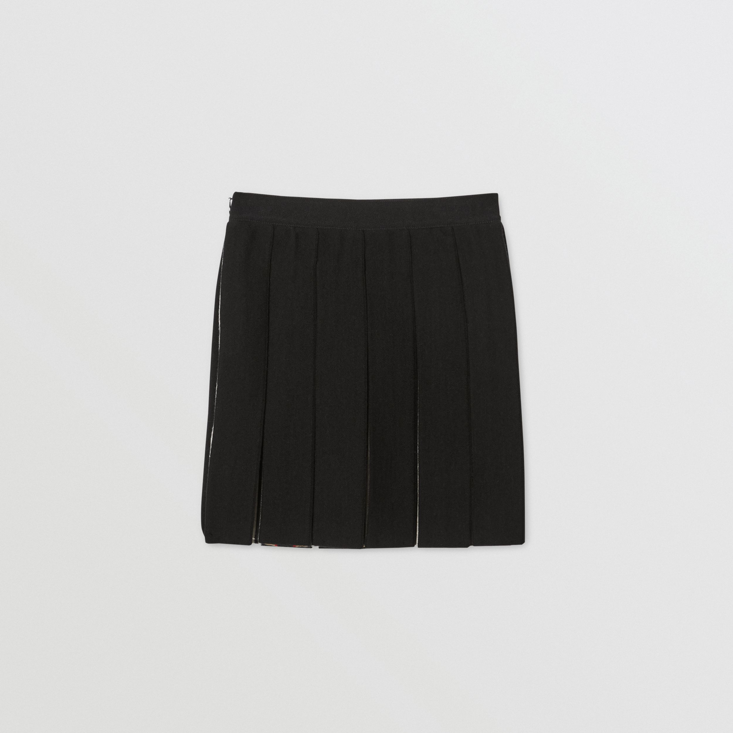 Icon Stripe Detail Wool Blend Pleated Skirt in Black | Burberry - 4