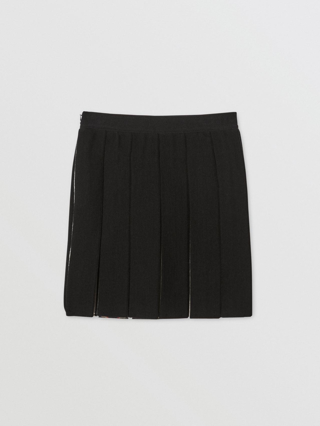 Icon Stripe Detail Wool Blend Pleated Skirt in Black