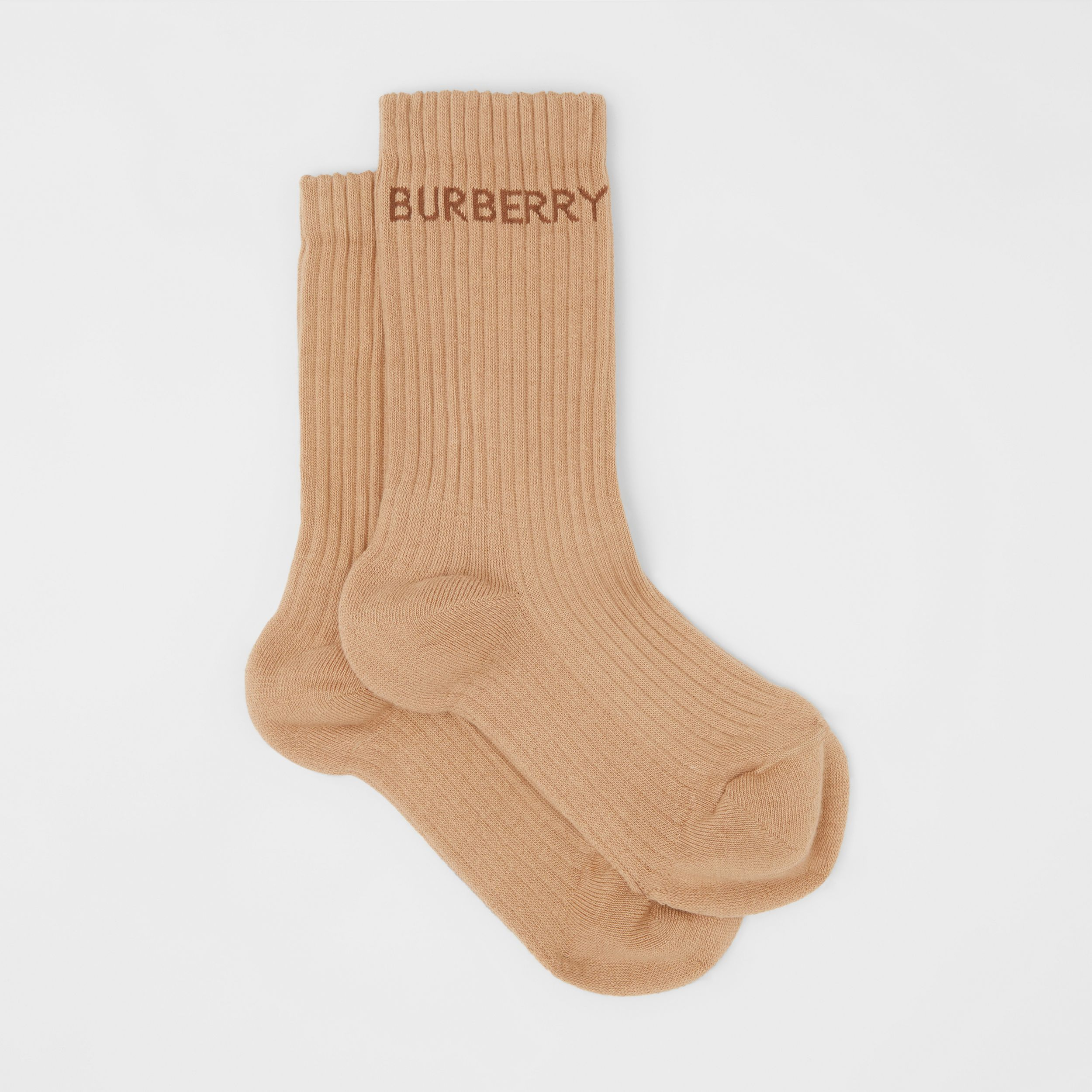 Logo Intarsia Technical Stretch Cotton Socks in Camel | Burberry - 4