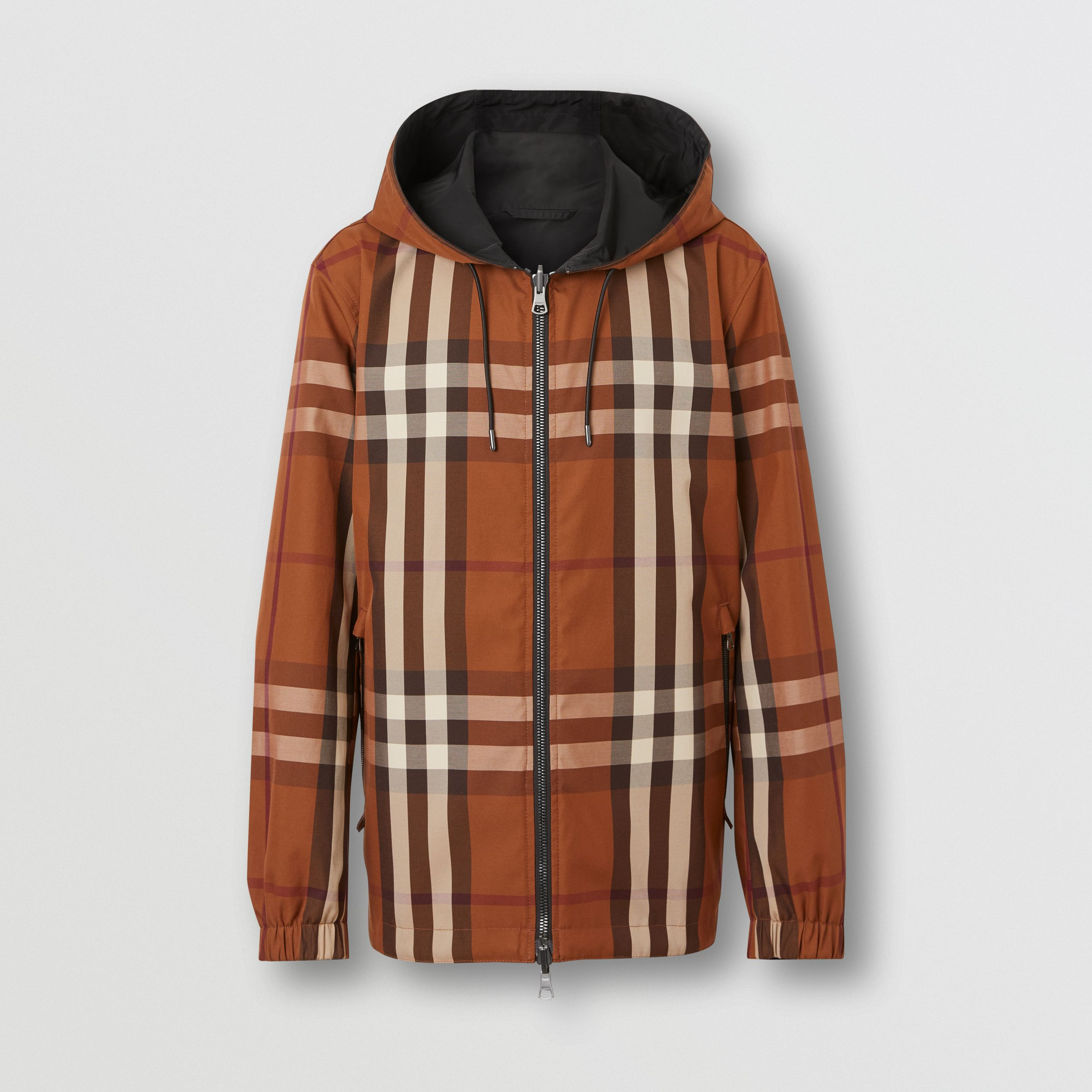 Reversible Check Technical Cotton Hooded Jacket in Dark Birch Brown - Men | Burberry United States - 4