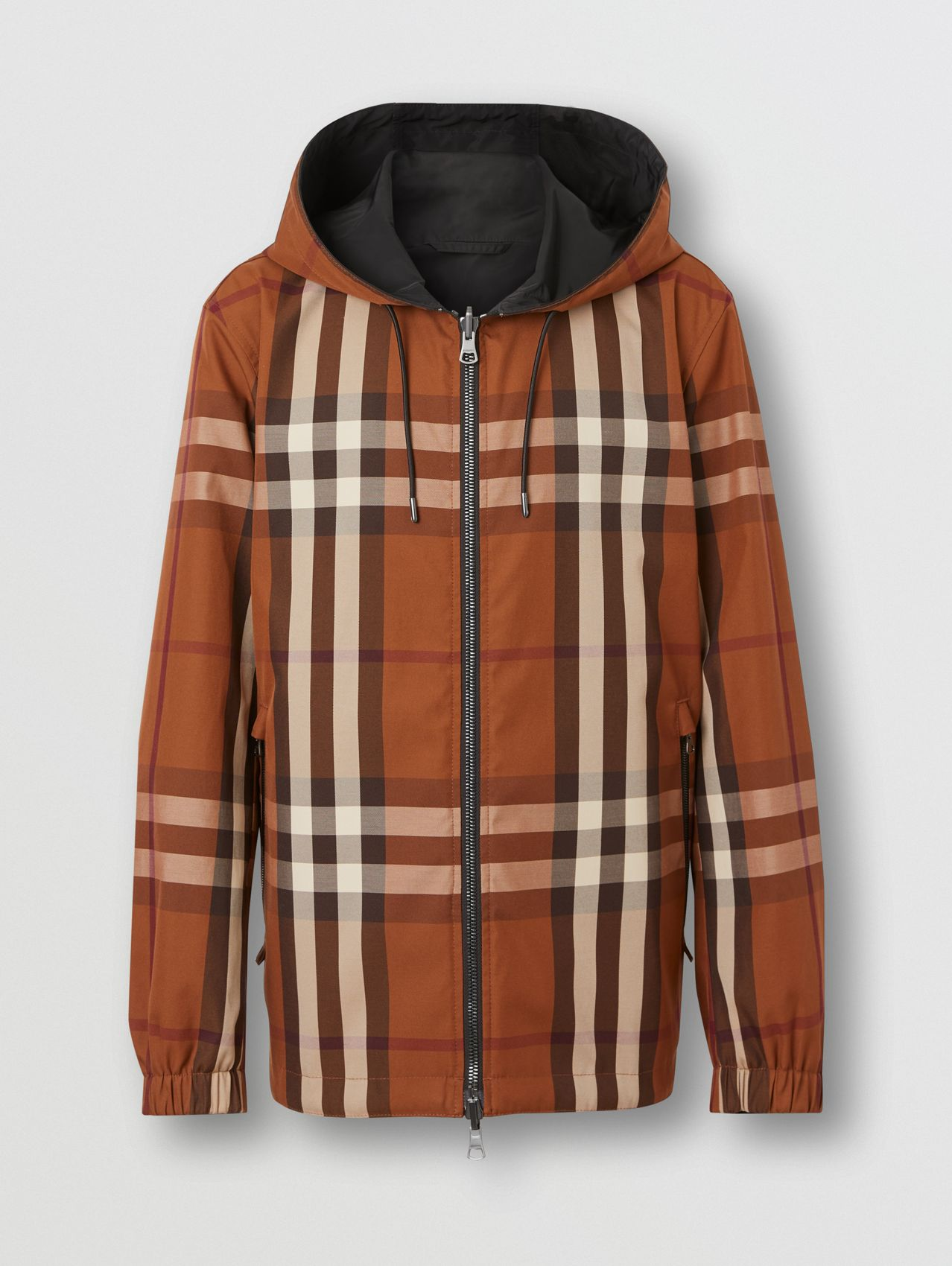 Reversible Check Technical Cotton Hooded Jacket in Dark Birch Brown