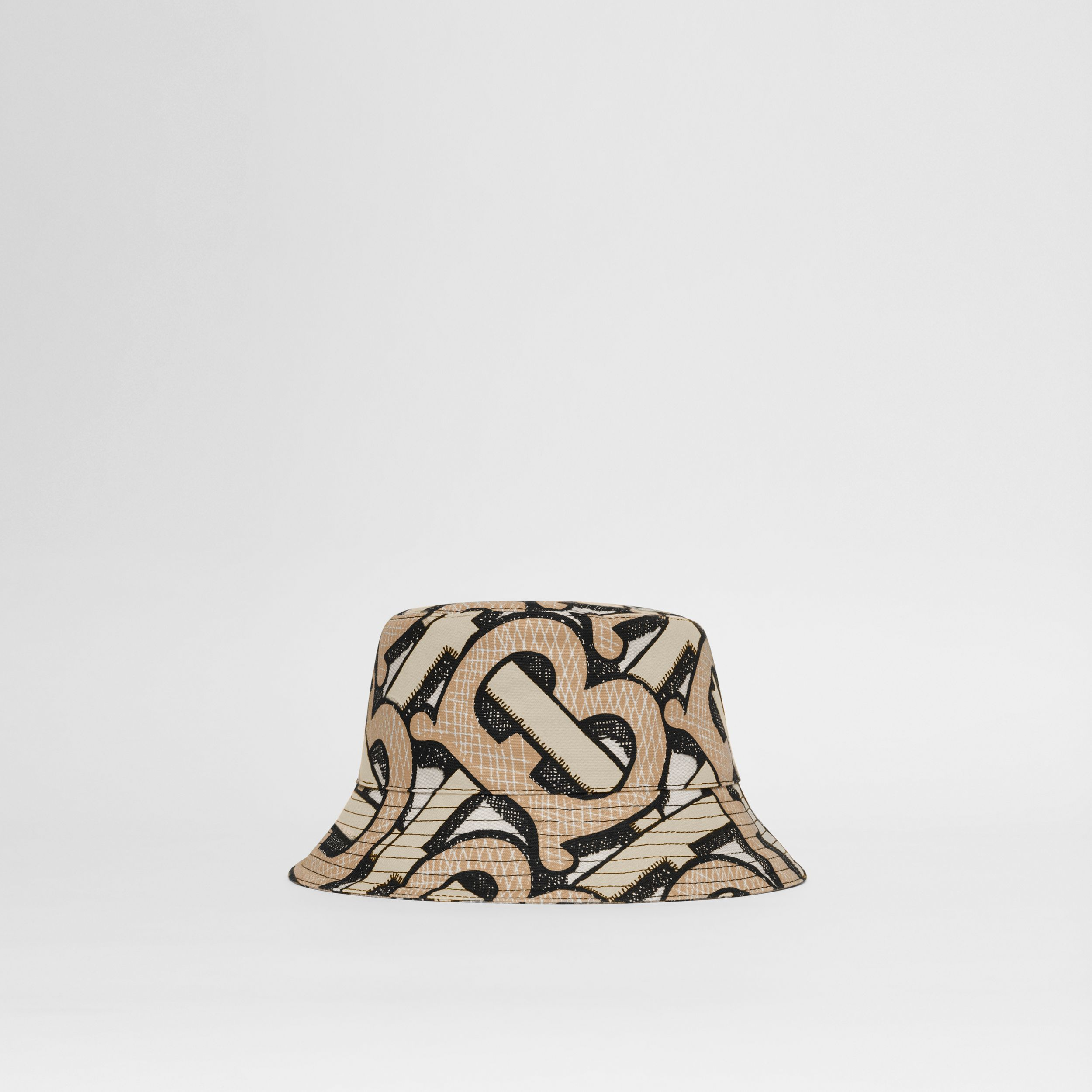 Monogram Print Cotton Canvas Bucket Hat in Dark Beige | Burberry - 1