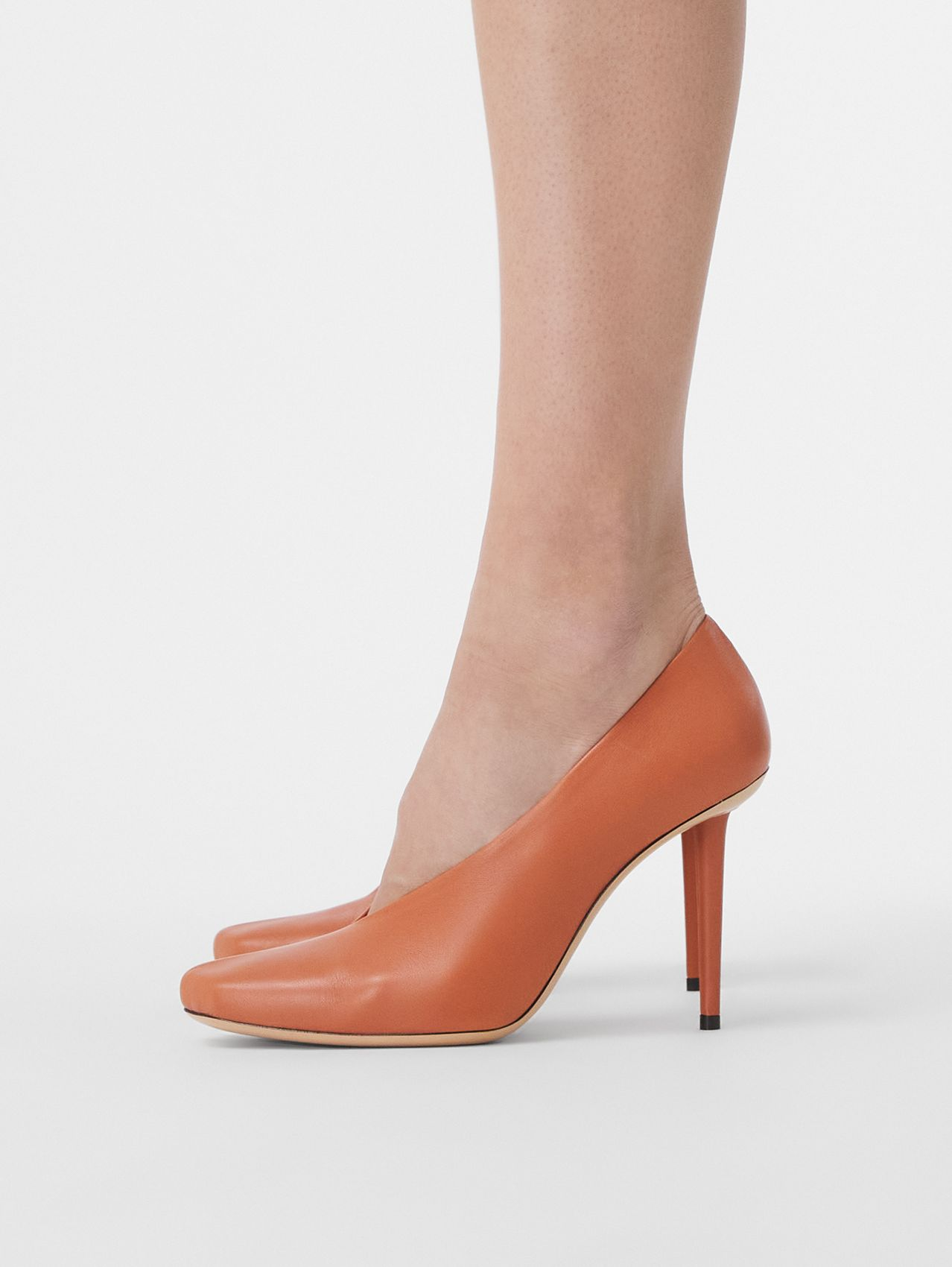 Lambskin Sculptural Pumps in Dark Amber