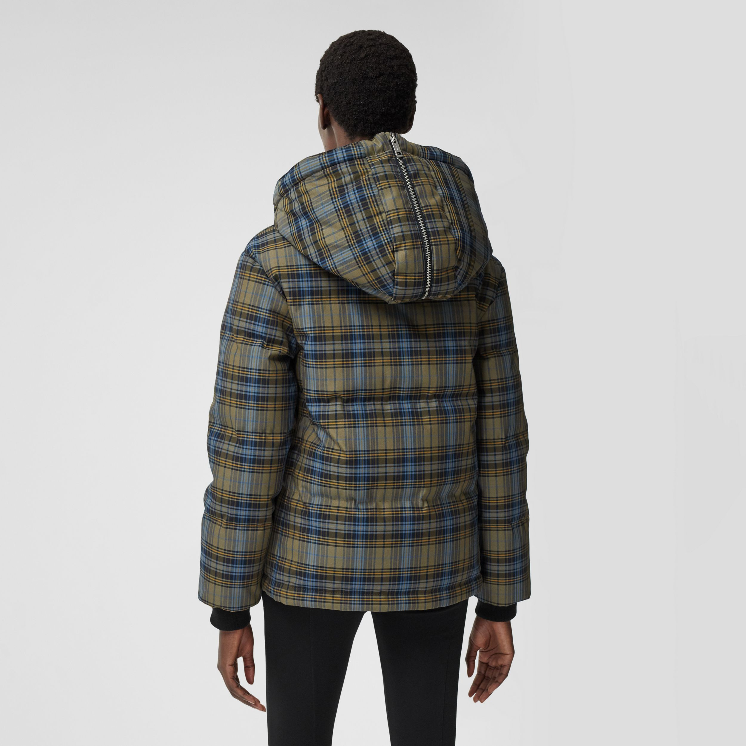 Logo Jacquard Check Hooded Puffer Jacket in Pale Green - Women | Burberry - 3
