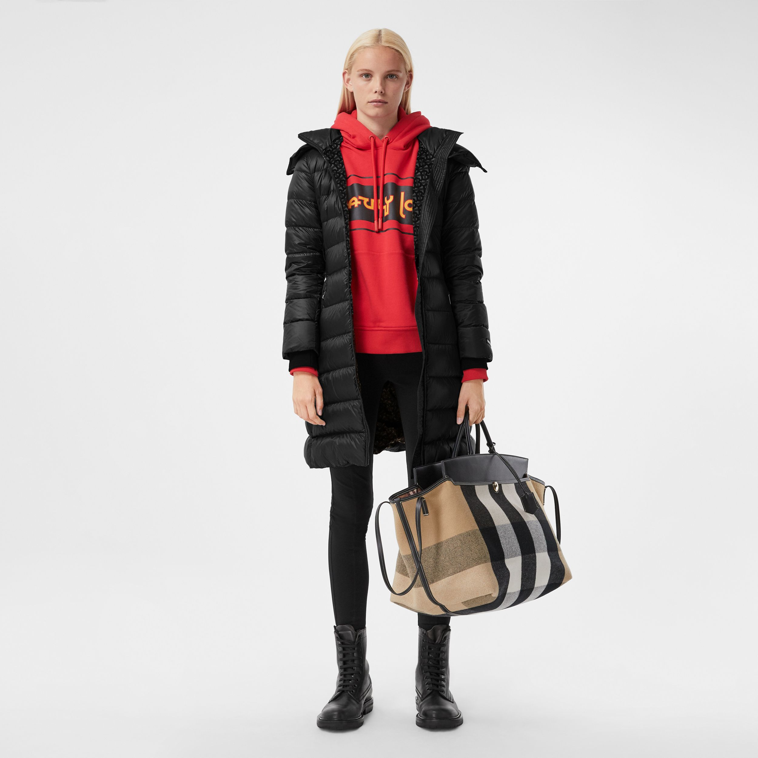 Detachable Hood Rib Knit Panel ECONYL® Puffer Coat in Black - Women | Burberry - 1