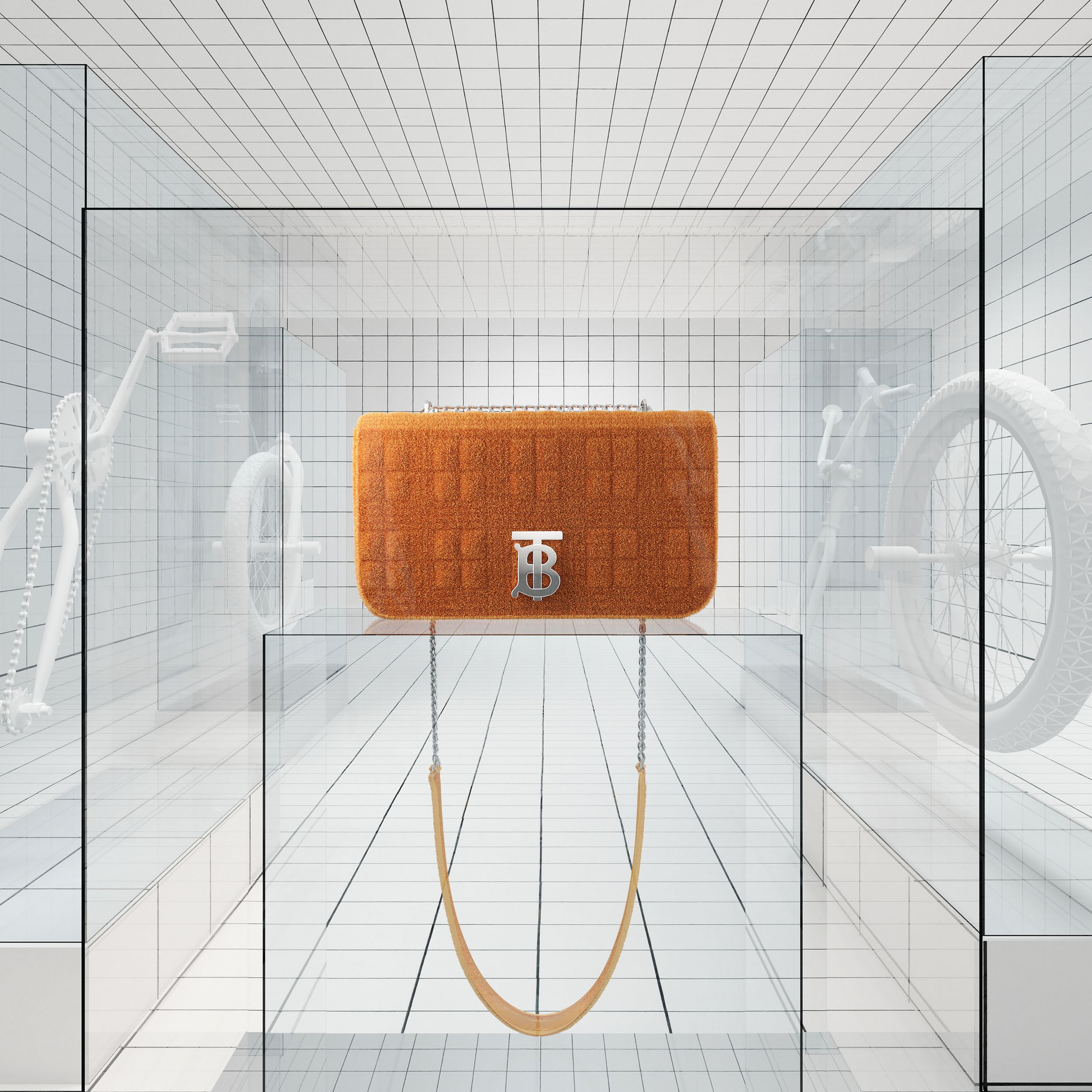 Small Quilted Towelling Lola Bag in Bright Orange | Burberry Hong Kong S.A.R. - 2