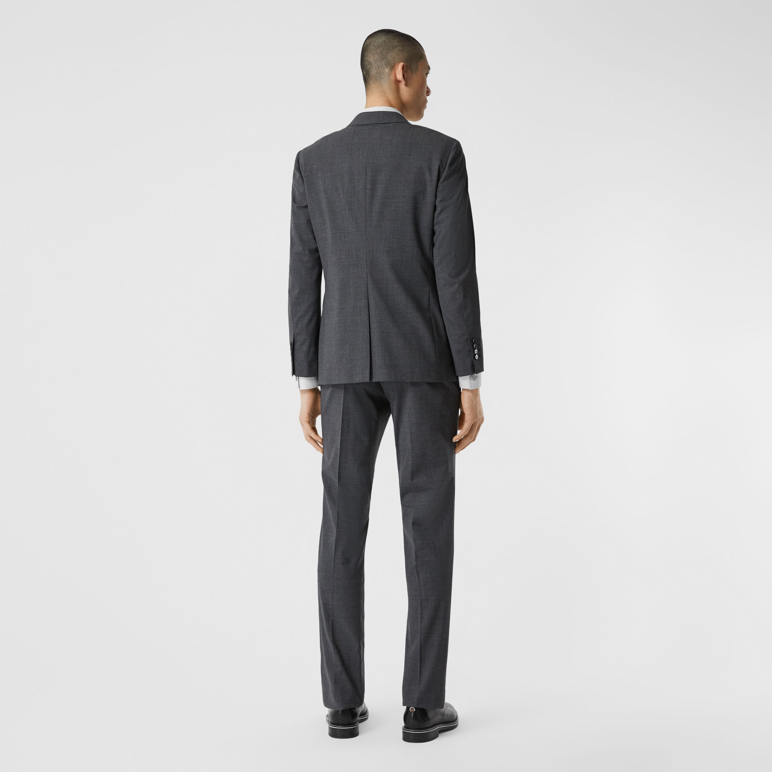Slim Fit Stretch Wool Suit in Cloud Grey Melange - Men | Burberry - 3