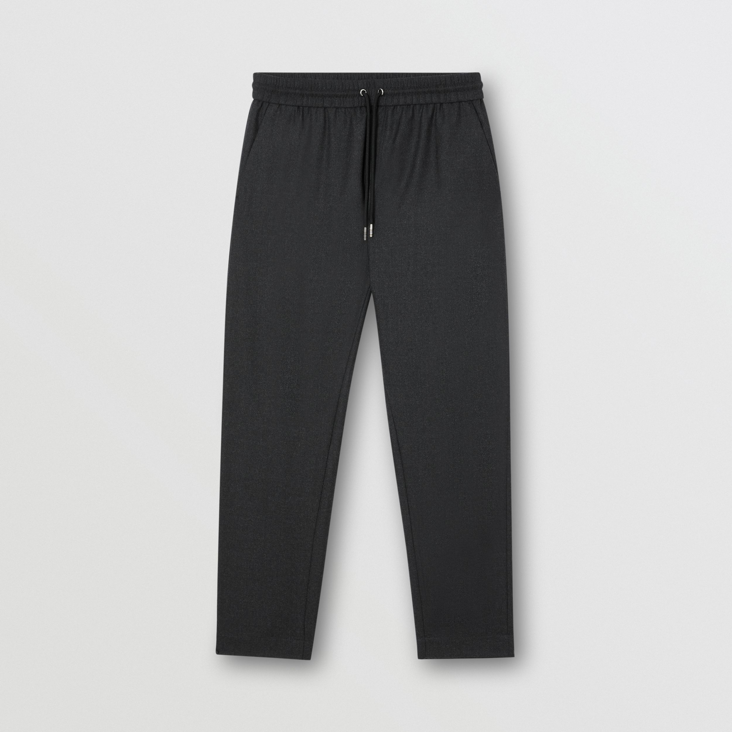 Monogram Motif Wool Jogging Pants in Charcoal Melange - Men | Burberry - 4
