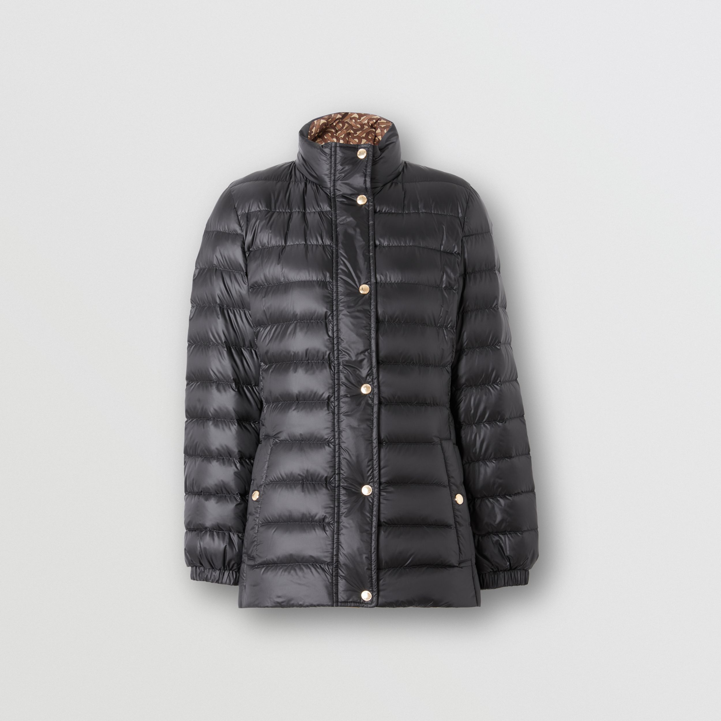 Monogram Print-lined Lightweight Puffer Jacket in Black - Women | Burberry United Kingdom - 4