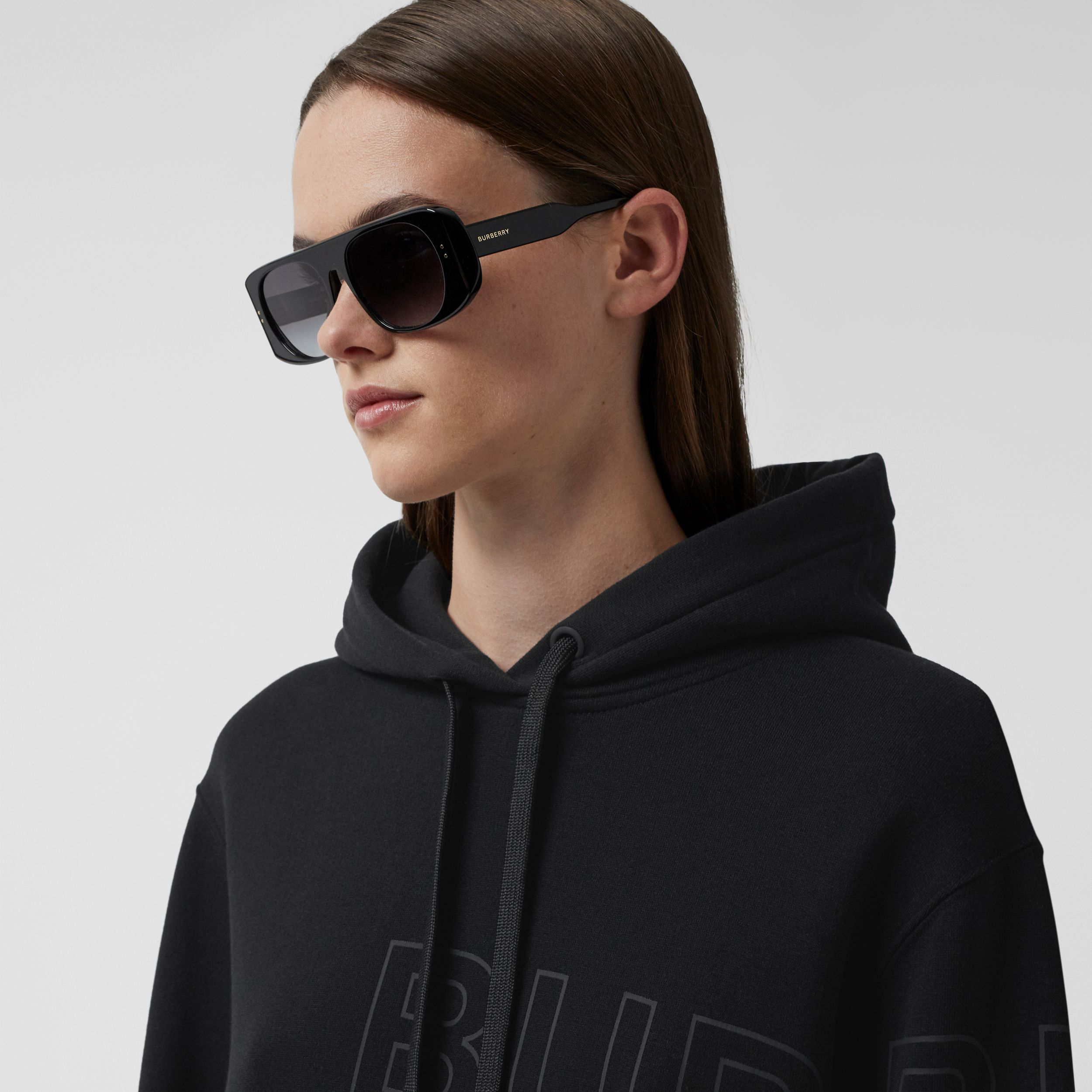 Horseferry Print Cotton Oversized Hoodie in Black - Women | Burberry - 2