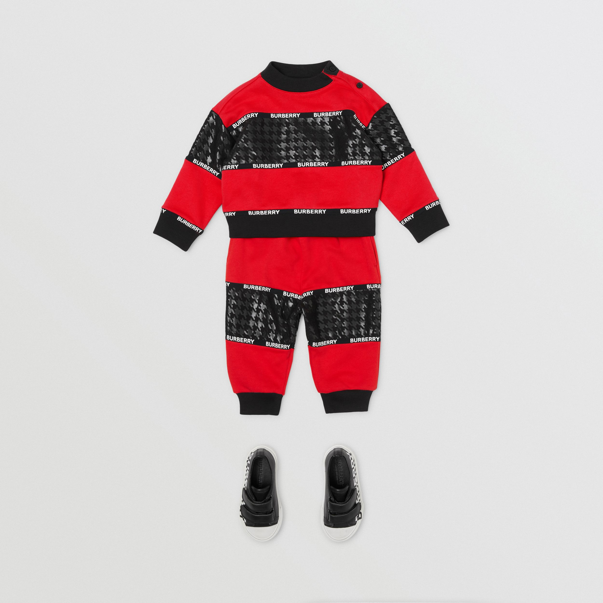 Houndstooth Check Panel Cotton Jogging Pants in Bright Red - Children | Burberry - 3