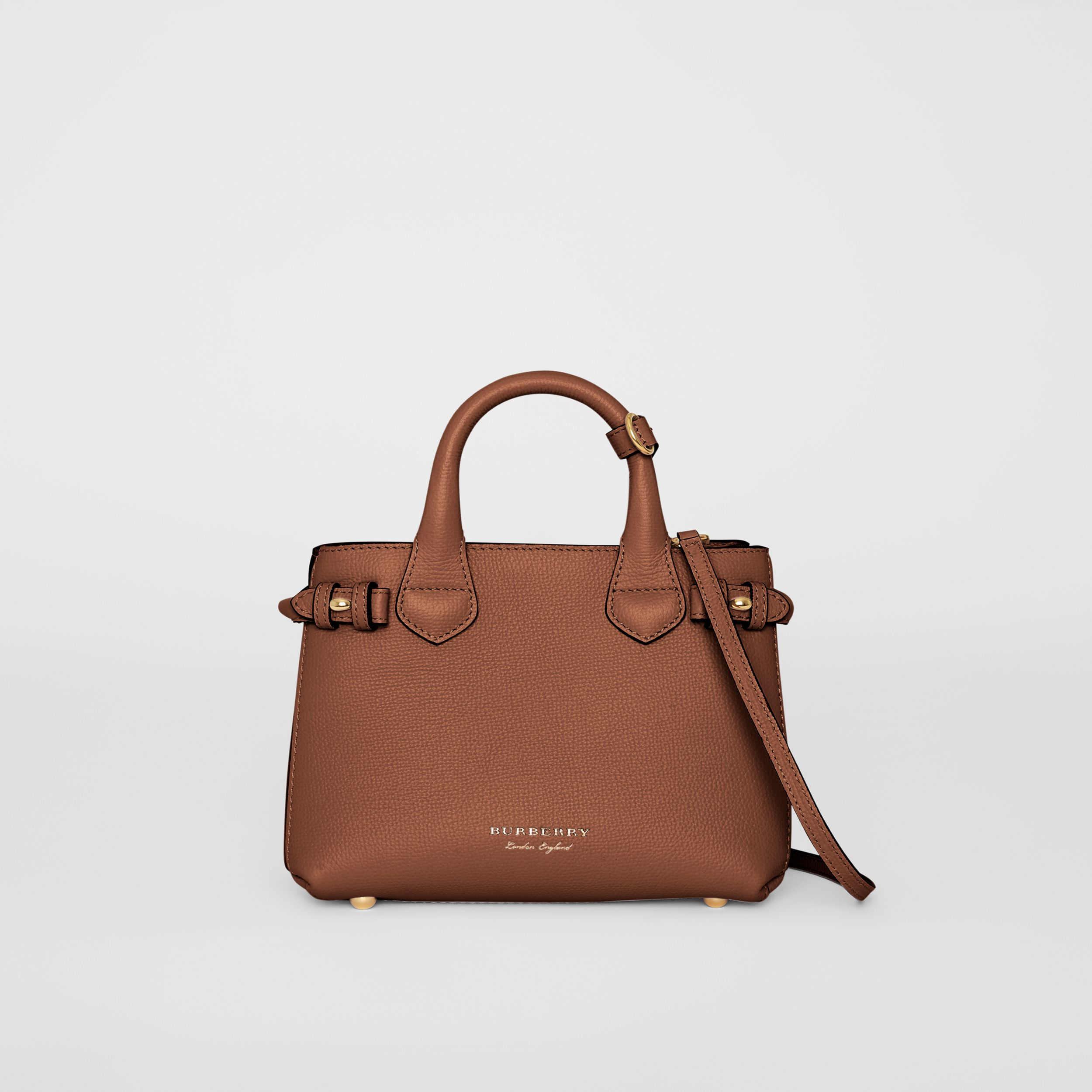 The Small Banner in Leather and House Check in Tan - Women | Burberry - 1