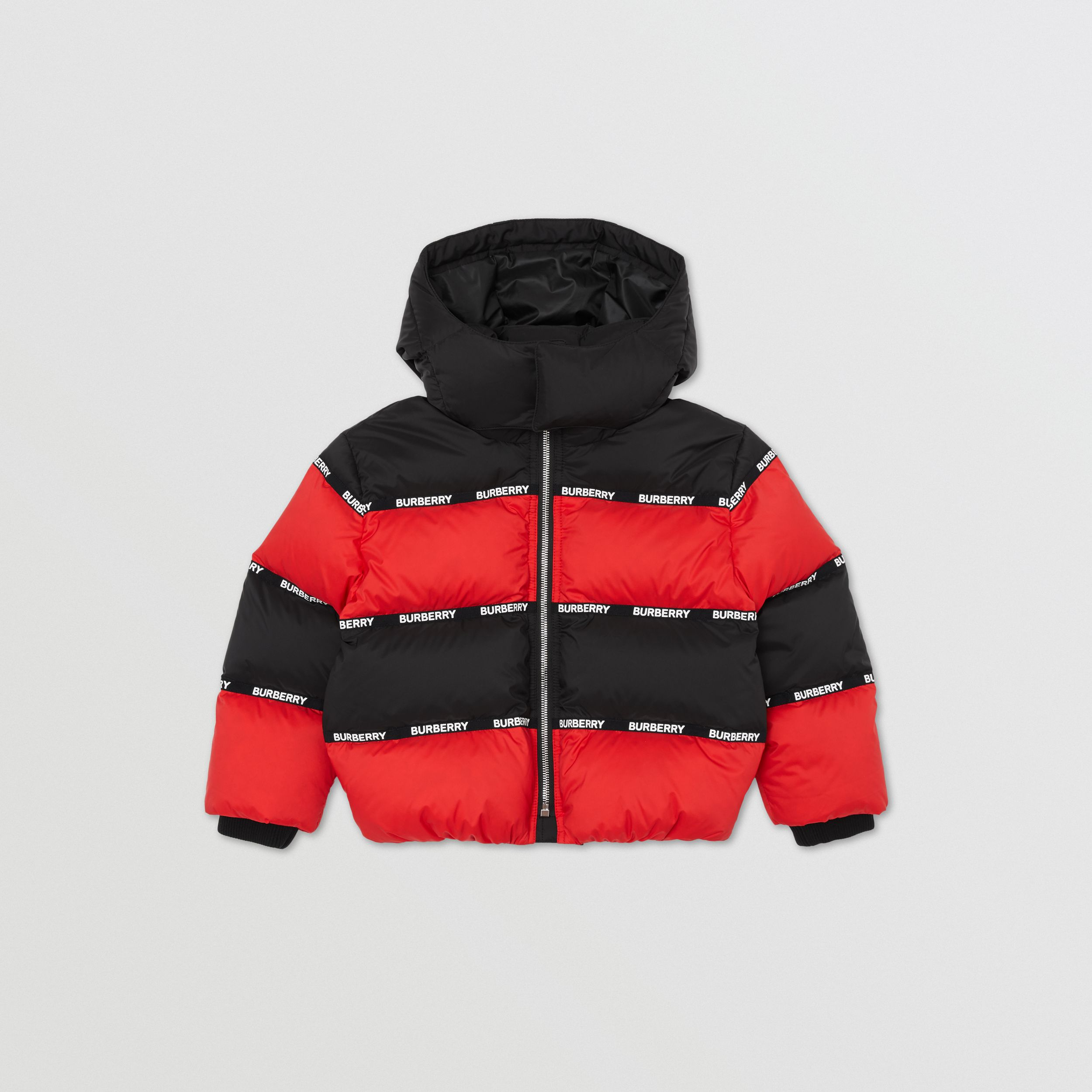 Logo Tape Striped Hooded Puffer Jacket | Burberry - 1