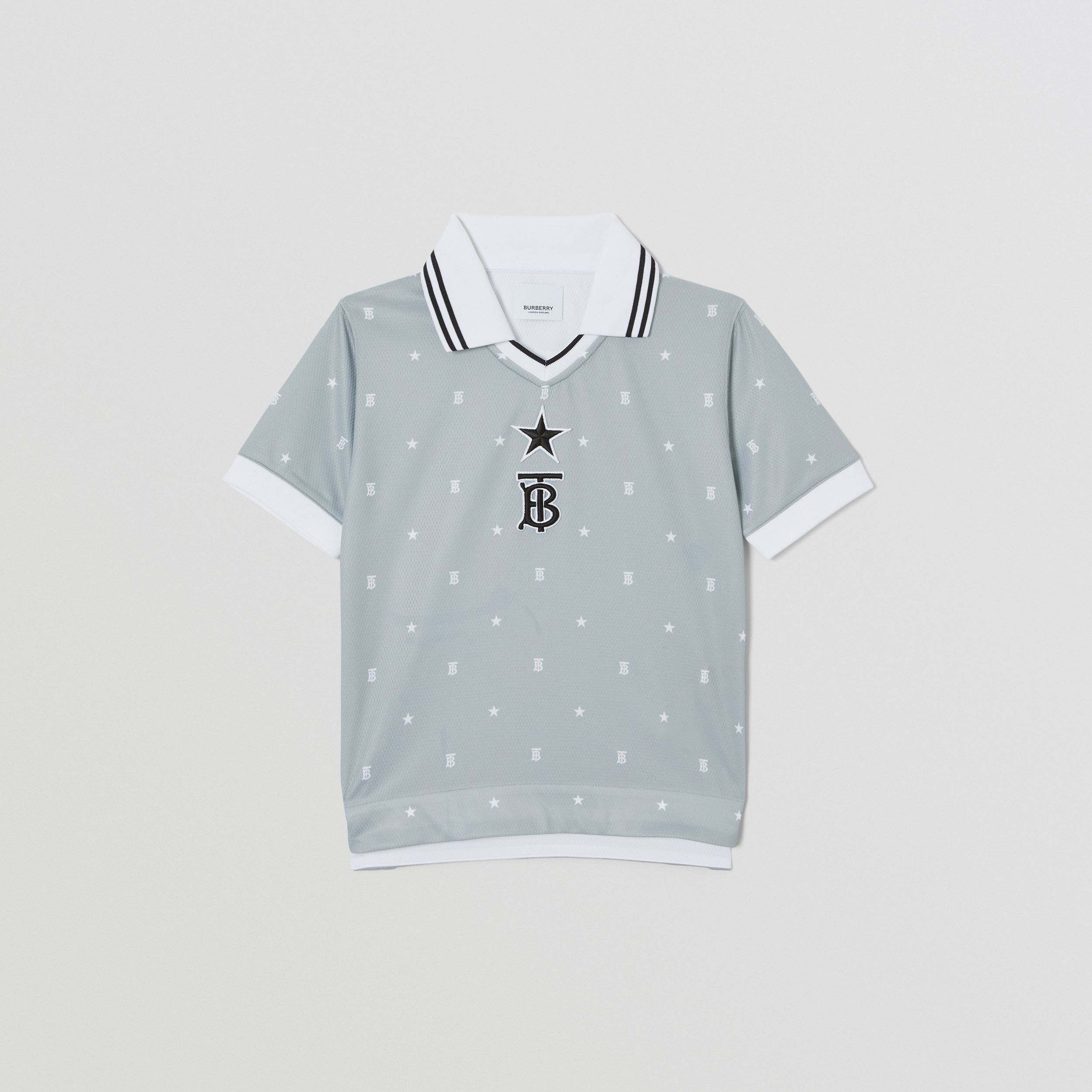 Star and Monogram Motif Mesh V-neck Polo Shirt in Light Grey | Burberry Canada - 1