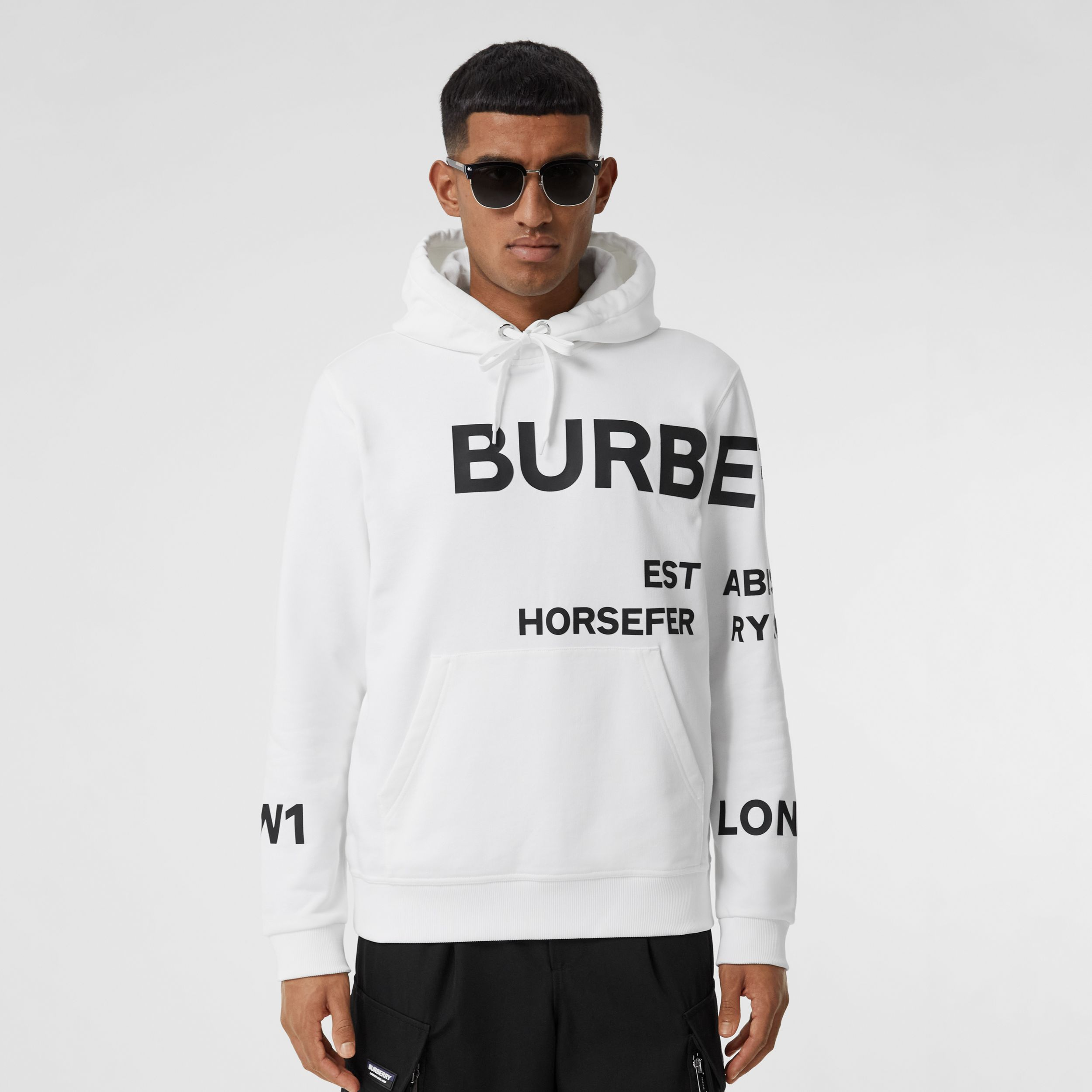 Horseferry Print Cotton Hoodie in White - Men | Burberry - 1