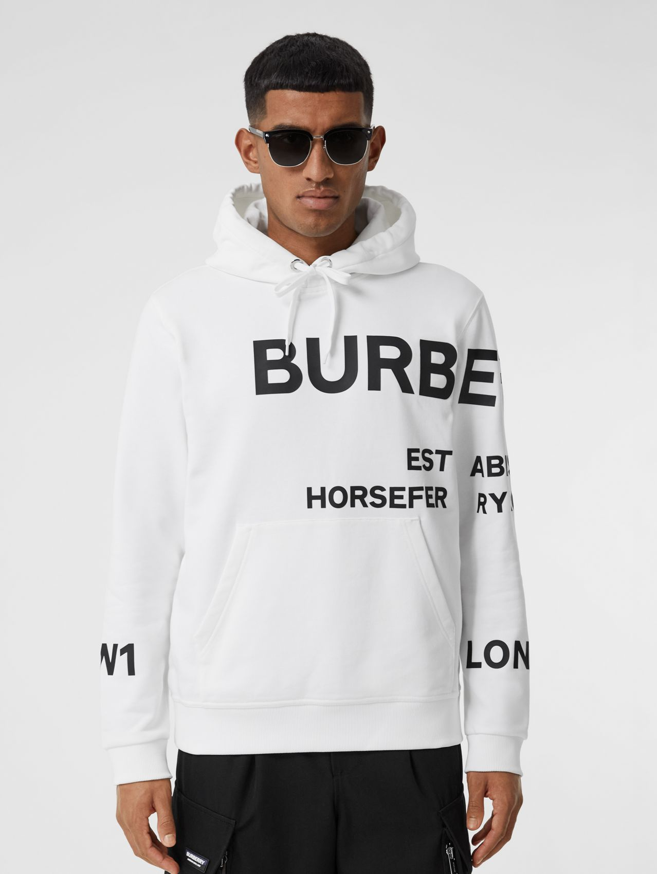Horseferry Print Cotton Hoodie in White