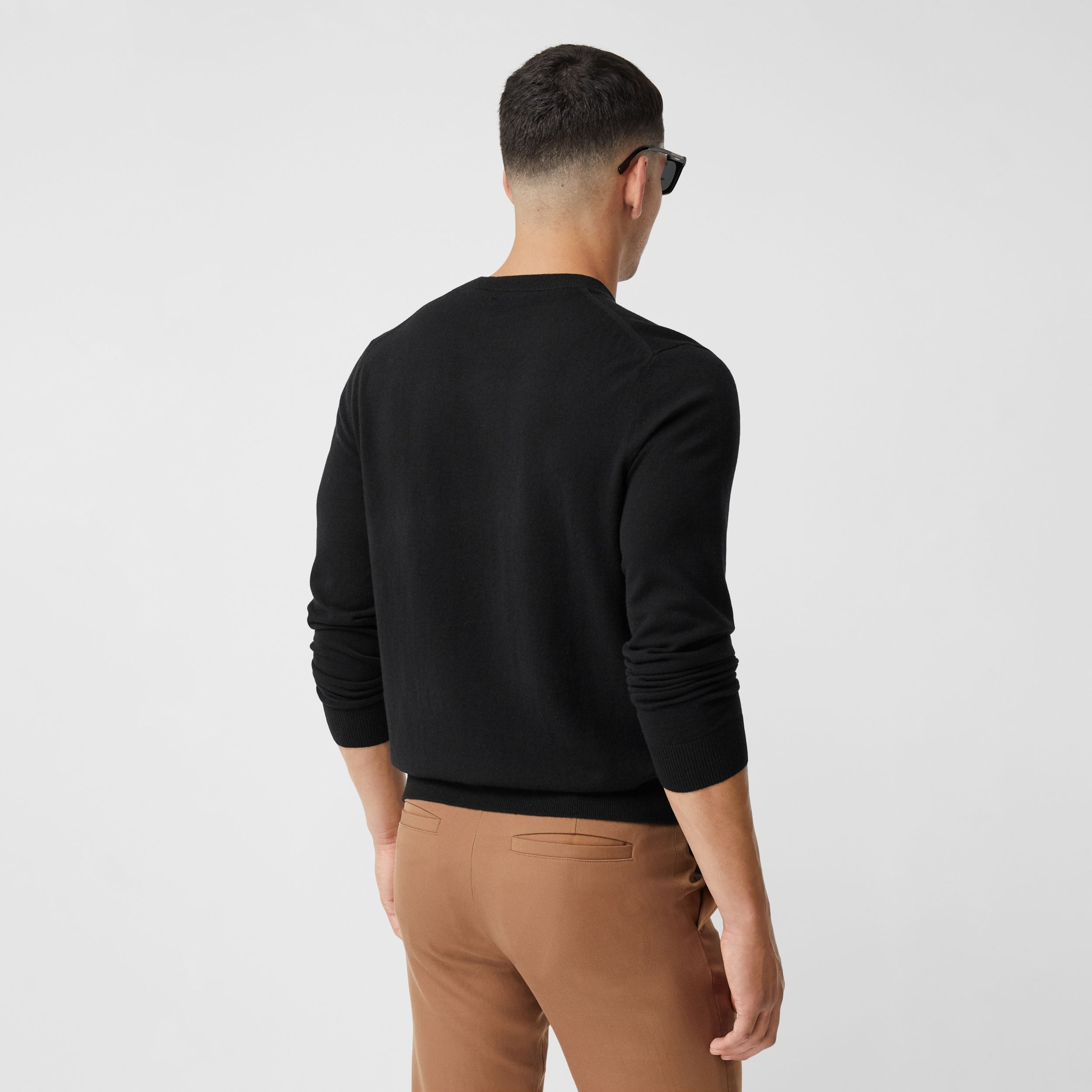 Monogram Motif Cashmere Sweater in Black - Men | Burberry - 3