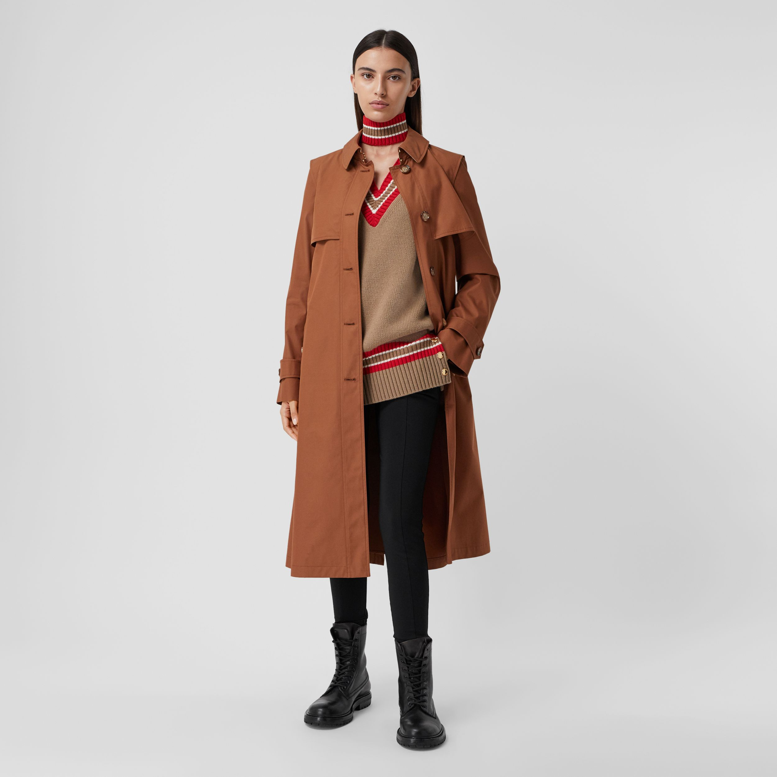 Technical Cotton Gabardine Trench Coat in Chestnut Brown - Women | Burberry - 1