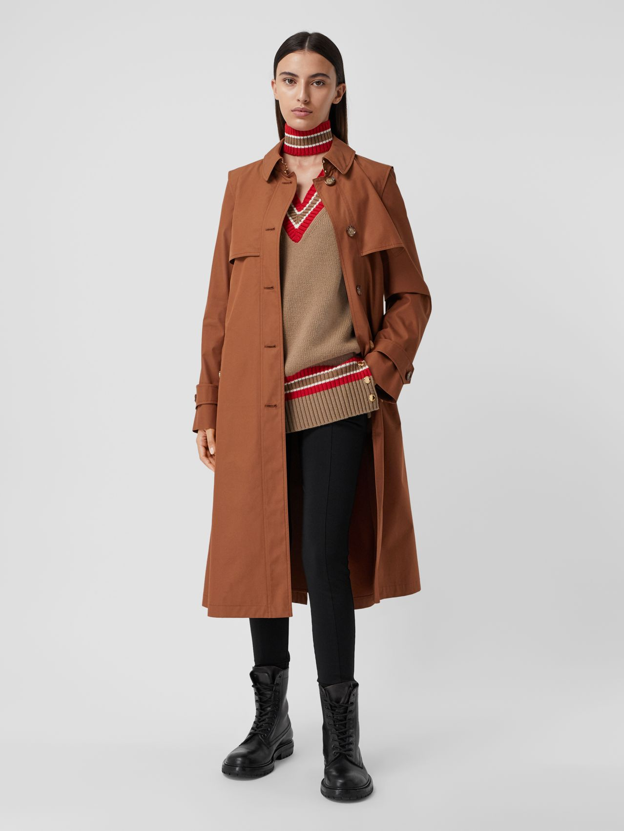 Trench coat in gabardine di cotone tecnica (Marrone Castagna)