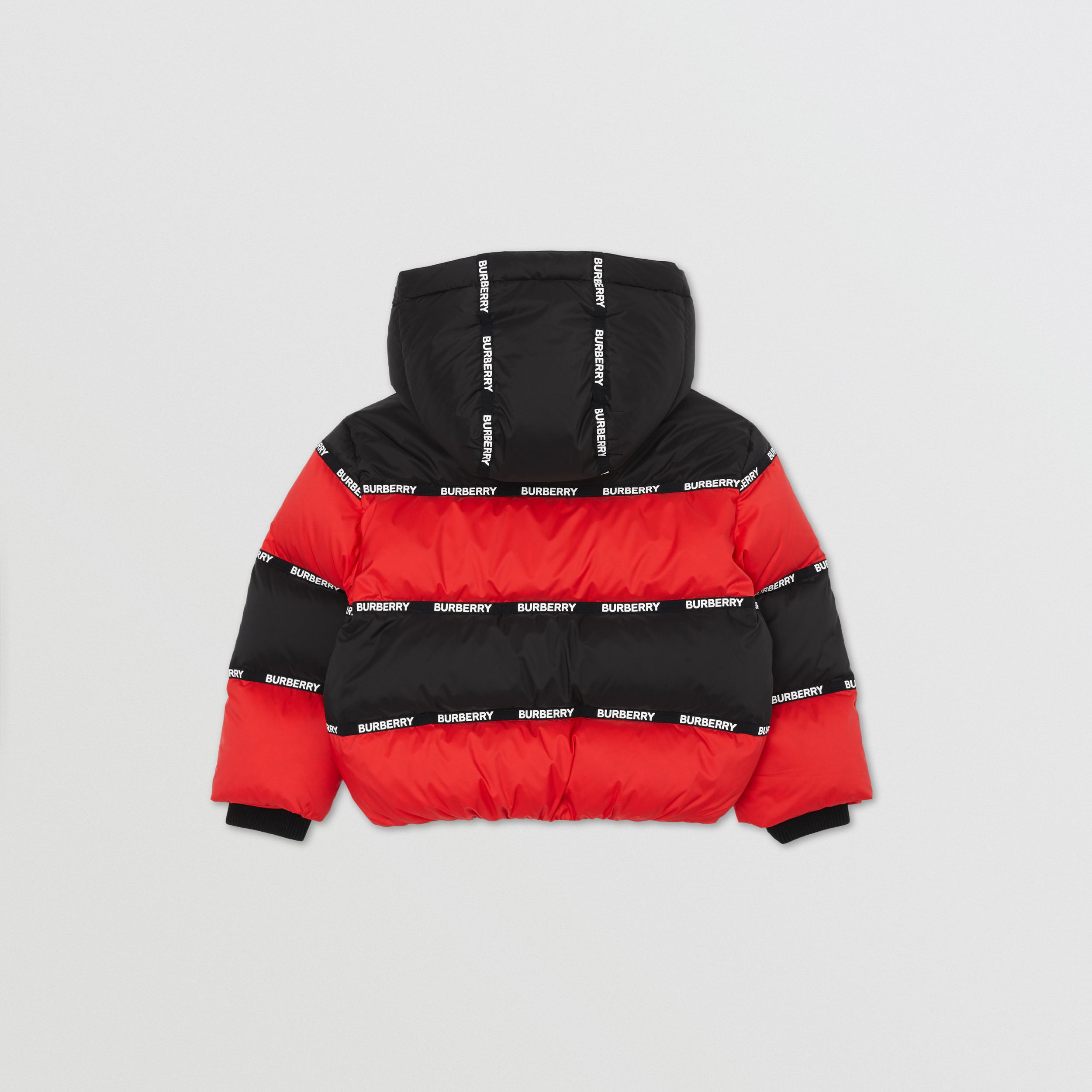 Logo Tape Striped Hooded Puffer Jacket | Burberry - 4