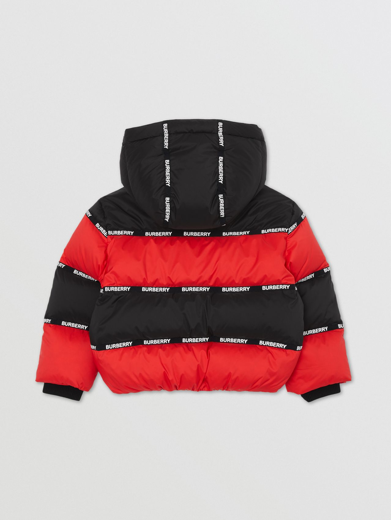 Logo Tape Striped Hooded Puffer Jacket