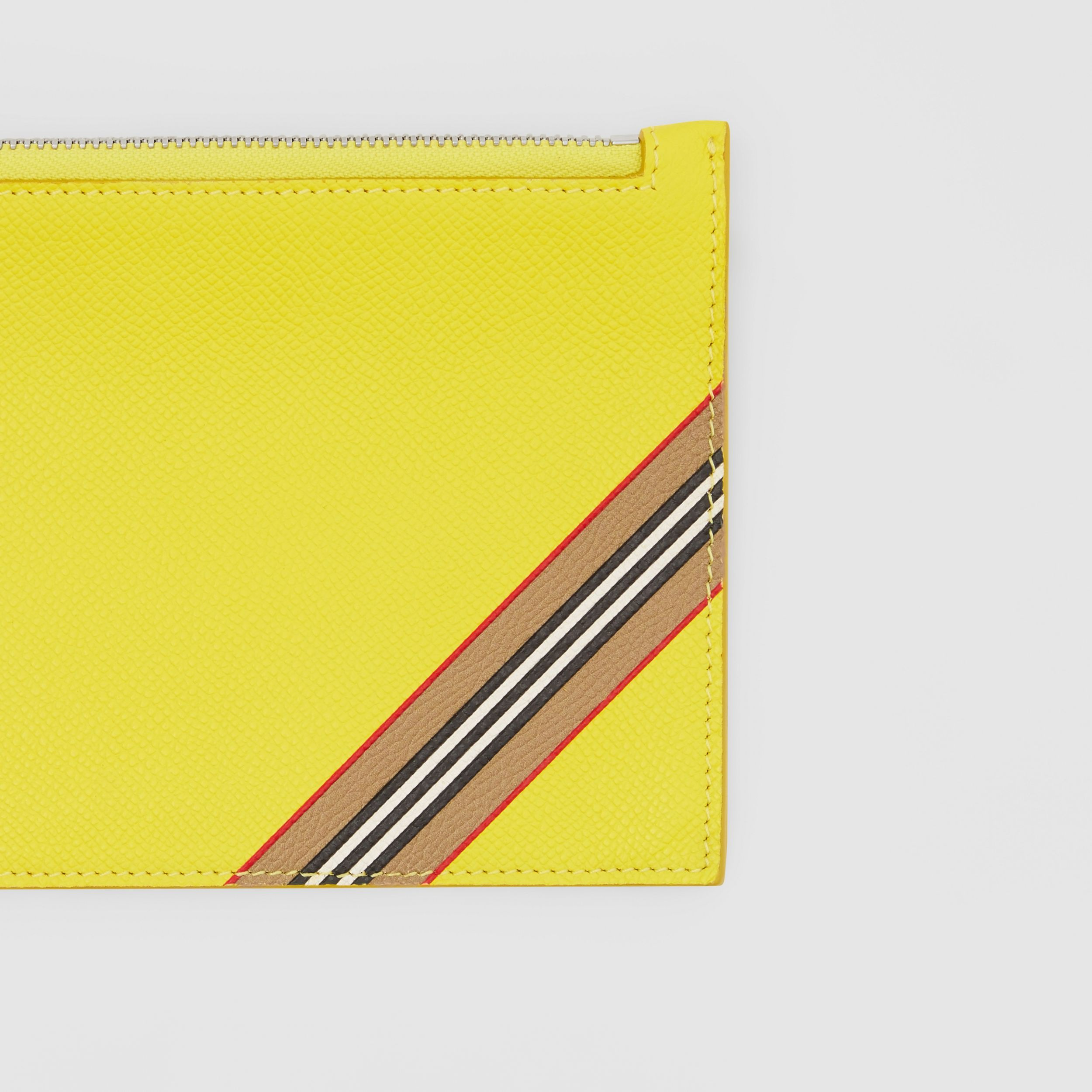 Icon Stripe Print Grainy Leather Zip Pouch in Marigold Yellow | Burberry - 2