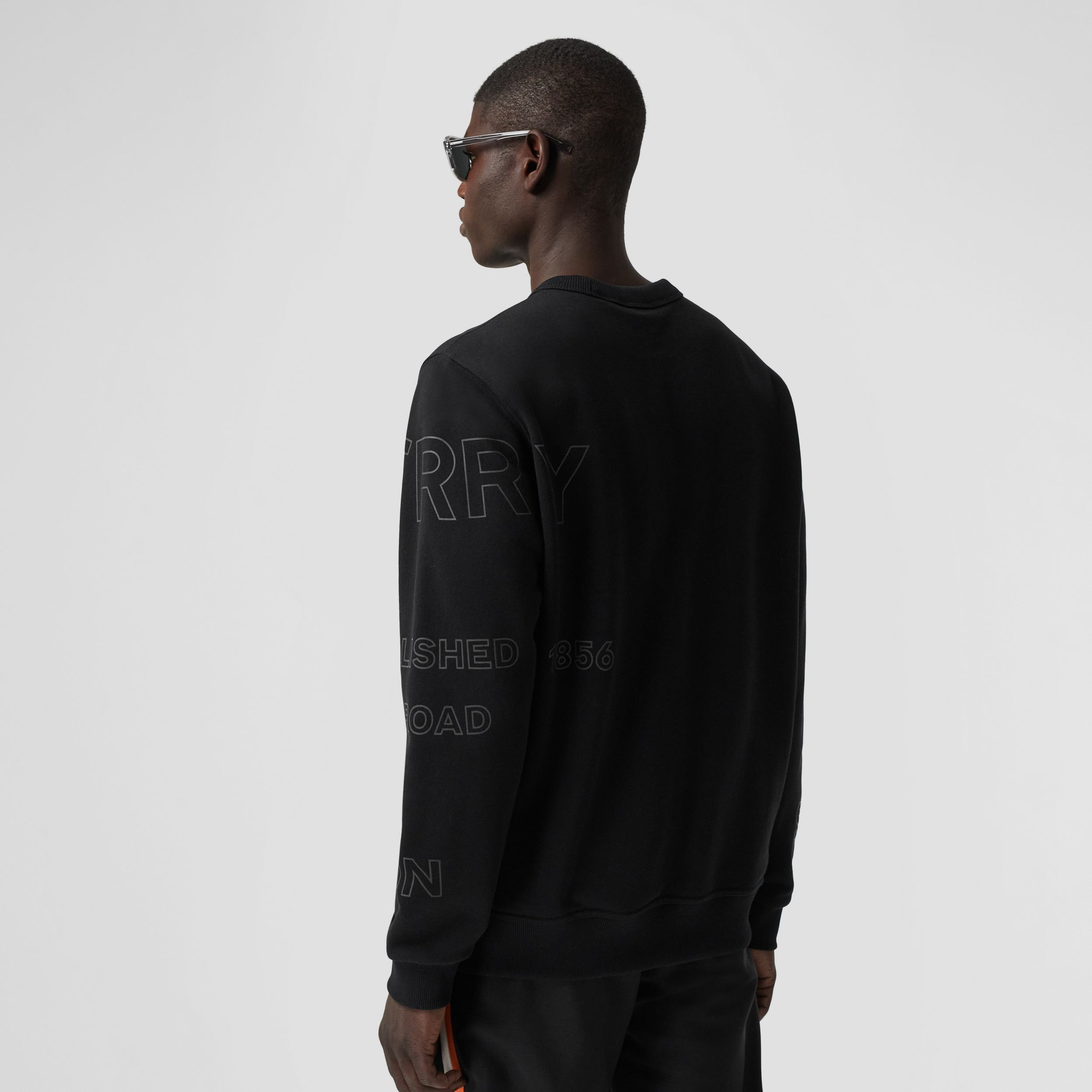 Horseferry Print Cotton Sweatshirt in Black - Men | Burberry - 3