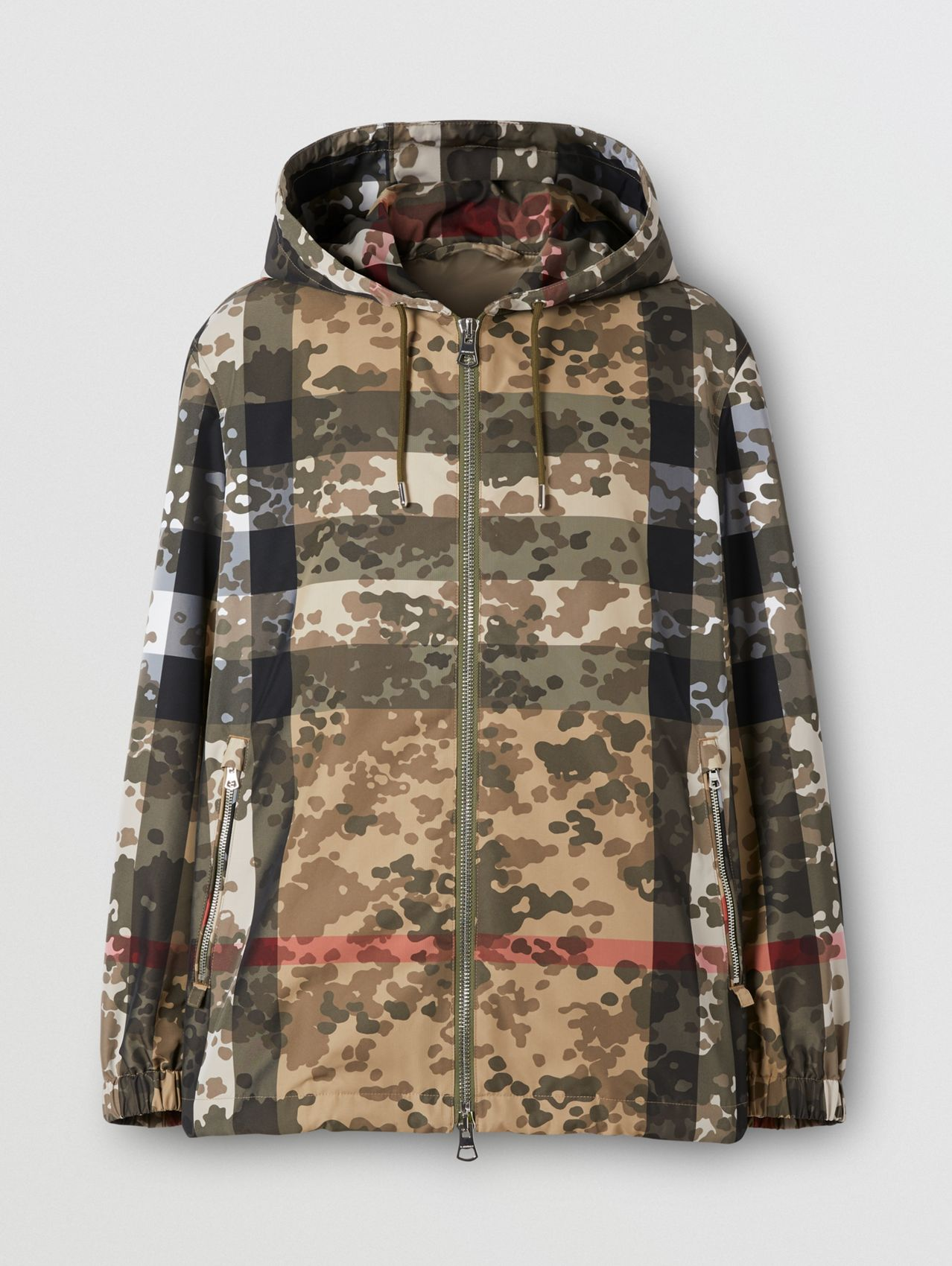 Camouflage Check Nylon Hooded Jacket (Archive Beige)