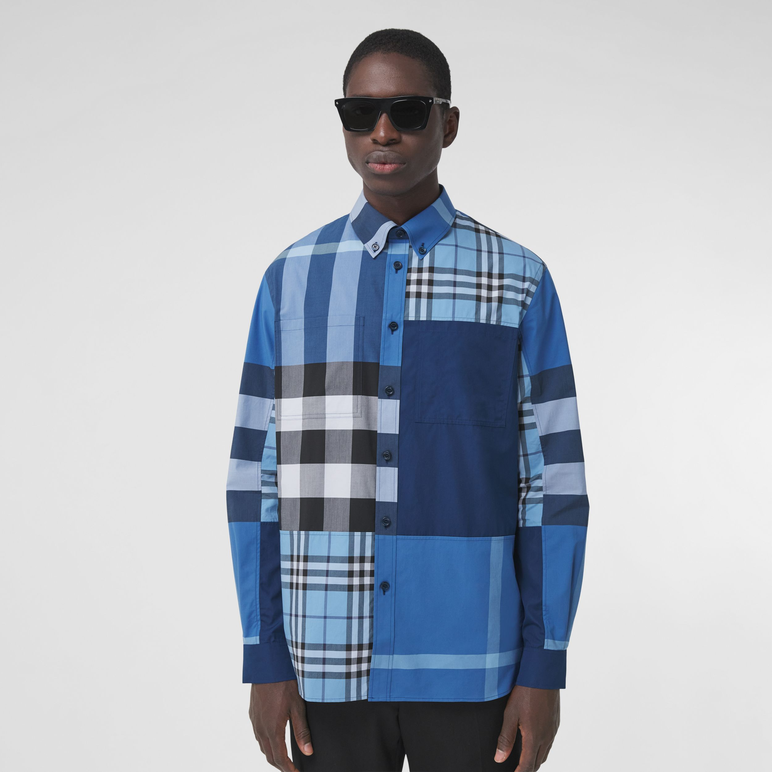 Patchwork Check Cotton Poplin Shirt in Vivid Cobalt - Men | Burberry United Kingdom - 1