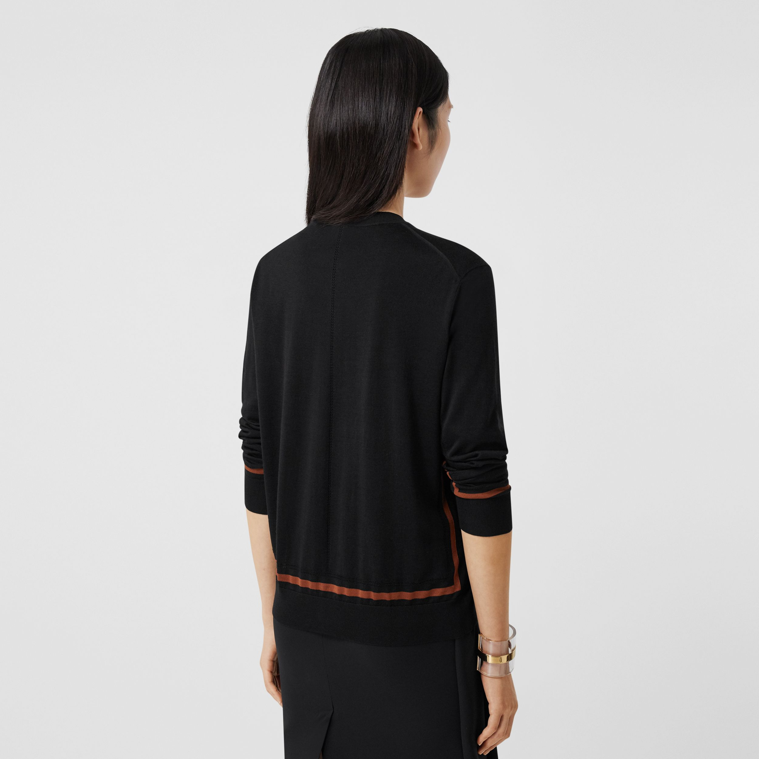 Monogram Motif Wool Silk Cashmere Cardigan in Black - Women | Burberry - 3