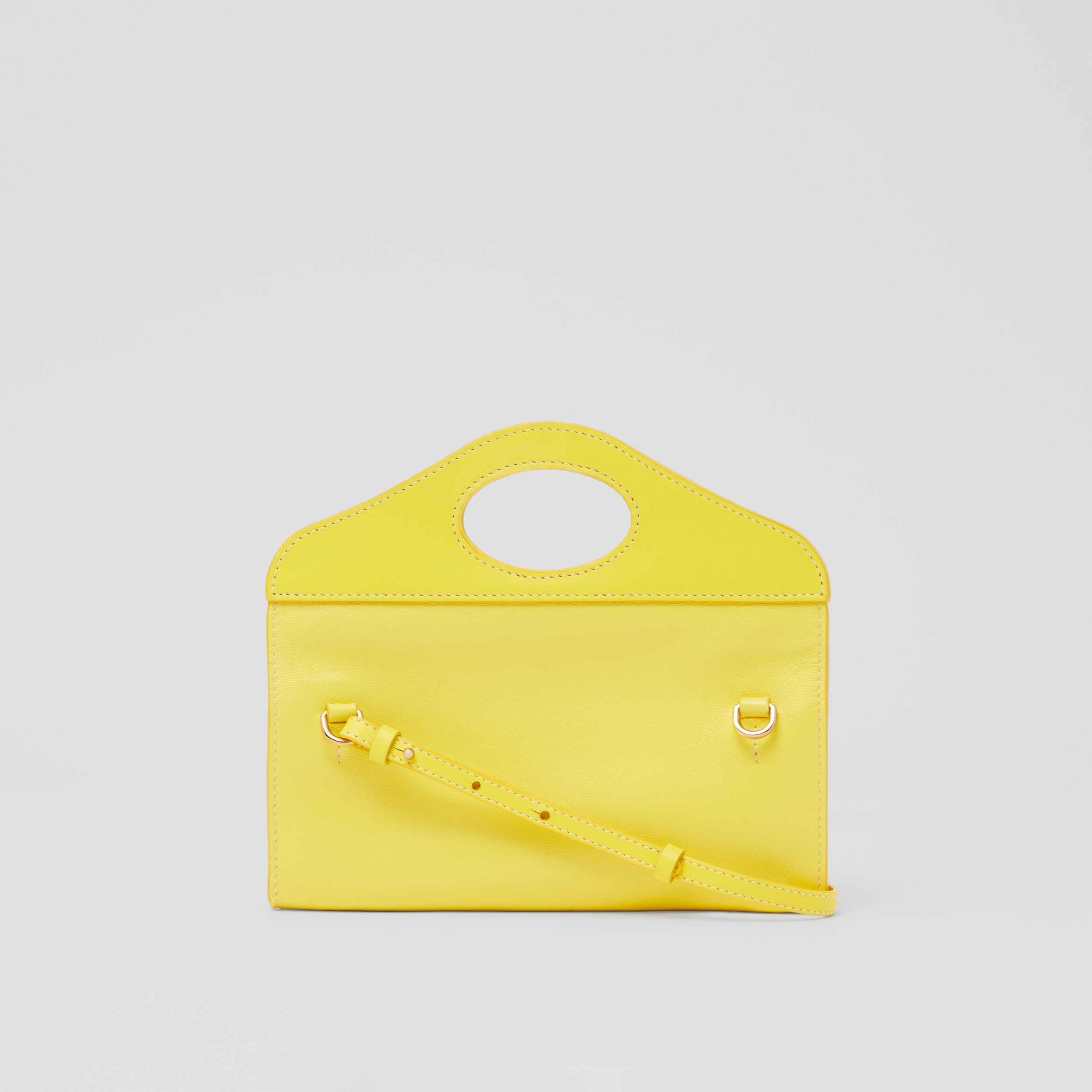 Mini Topstitched Lambskin Pocket Clutch in Marigold Yellow - Women | Burberry - 4