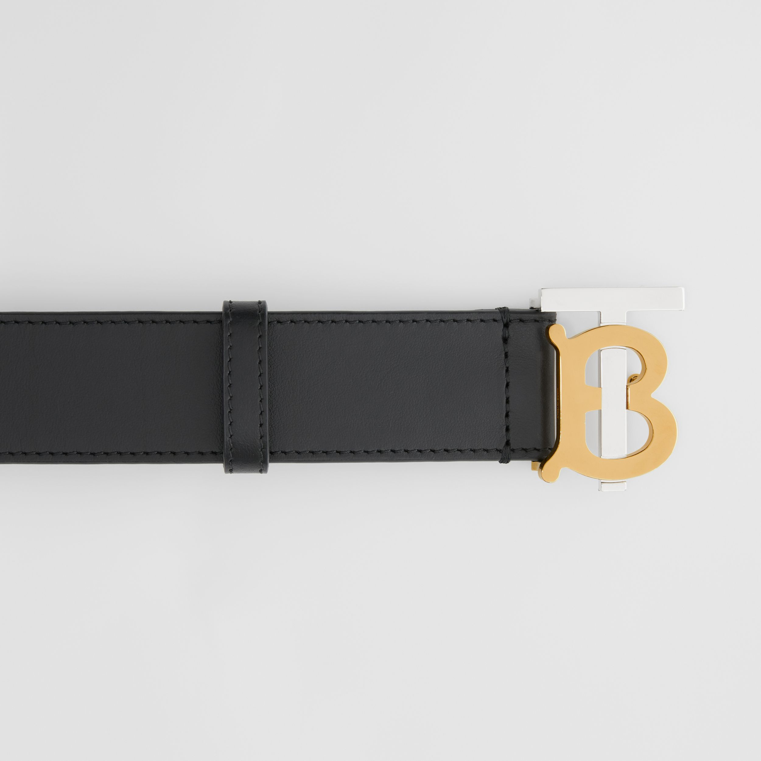 Two-tone Monogram Motif Leather Belt in Black - Men | Burberry Canada - 2