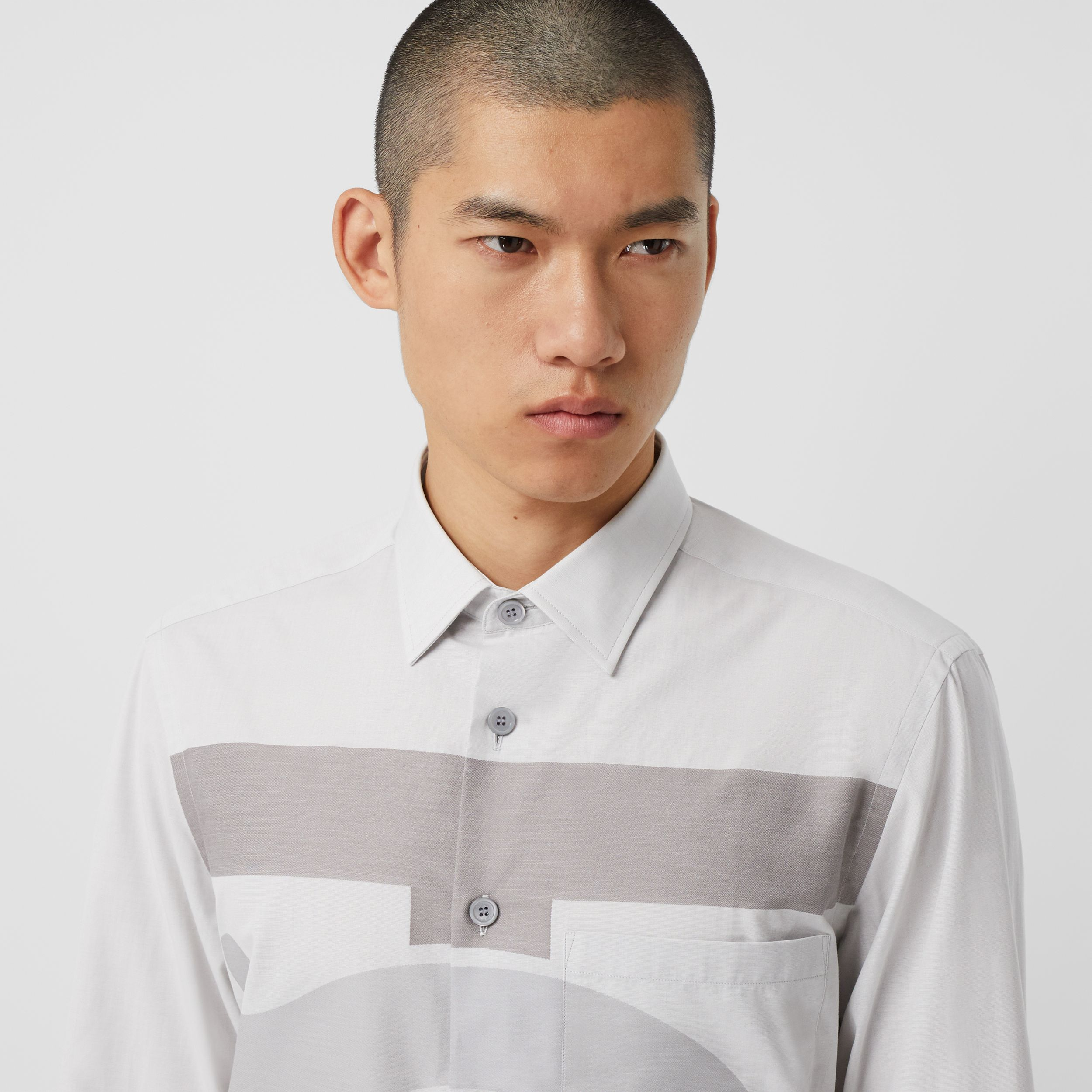 Slim Fit Monogram Motif Cotton Shirt in Pebble Grey - Men | Burberry - 2