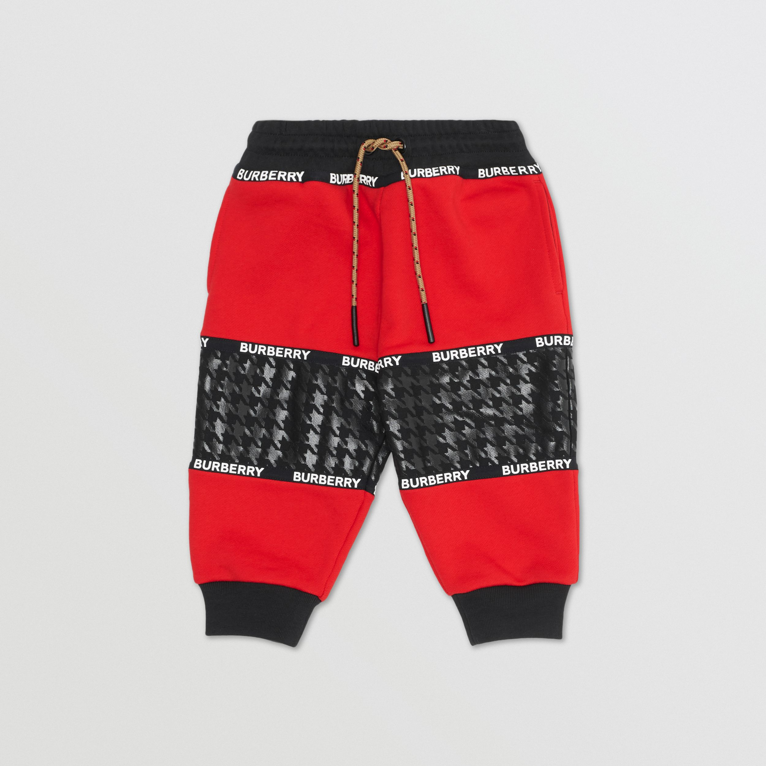Houndstooth Check Panel Cotton Jogging Pants in Bright Red - Children | Burberry - 1