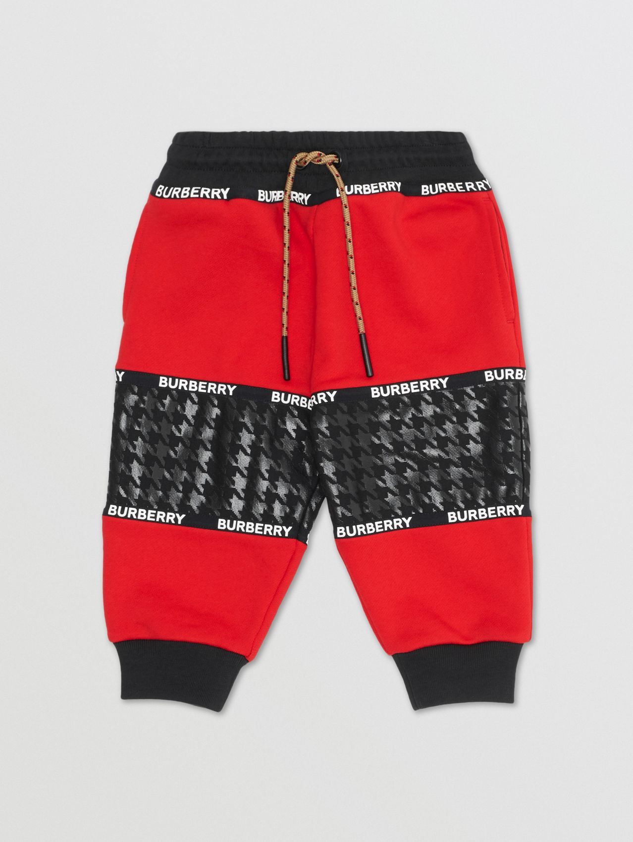 Houndstooth Check Panel Cotton Jogging Pants in Bright Red
