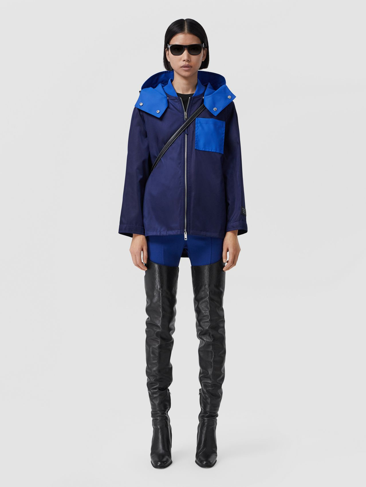 Detachable Hood Lightweight ECONYL® Jacket in Airforce Blue