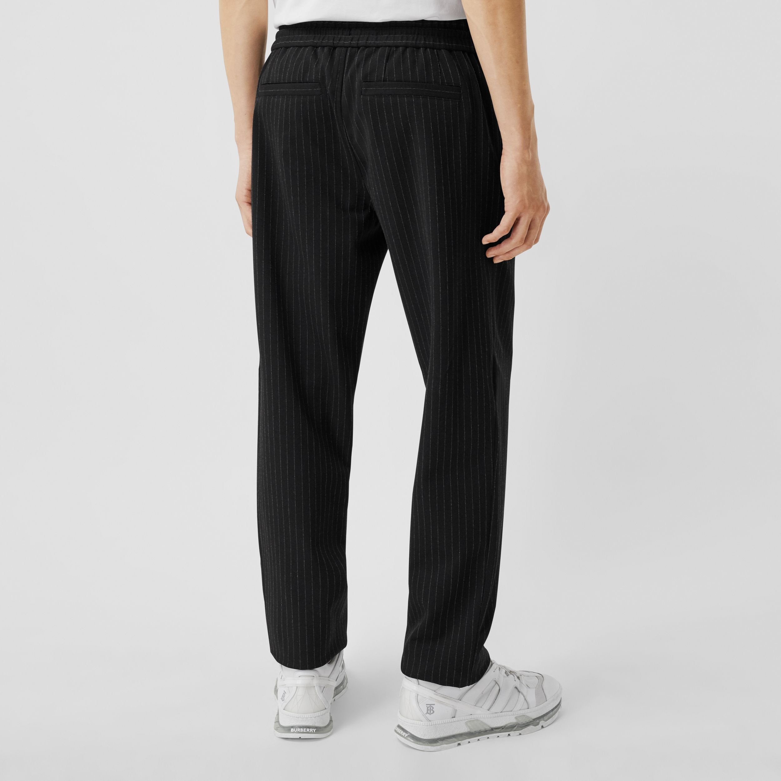 Pinstriped Stretch Jersey Jogging Pants in Black - Men | Burberry - 3