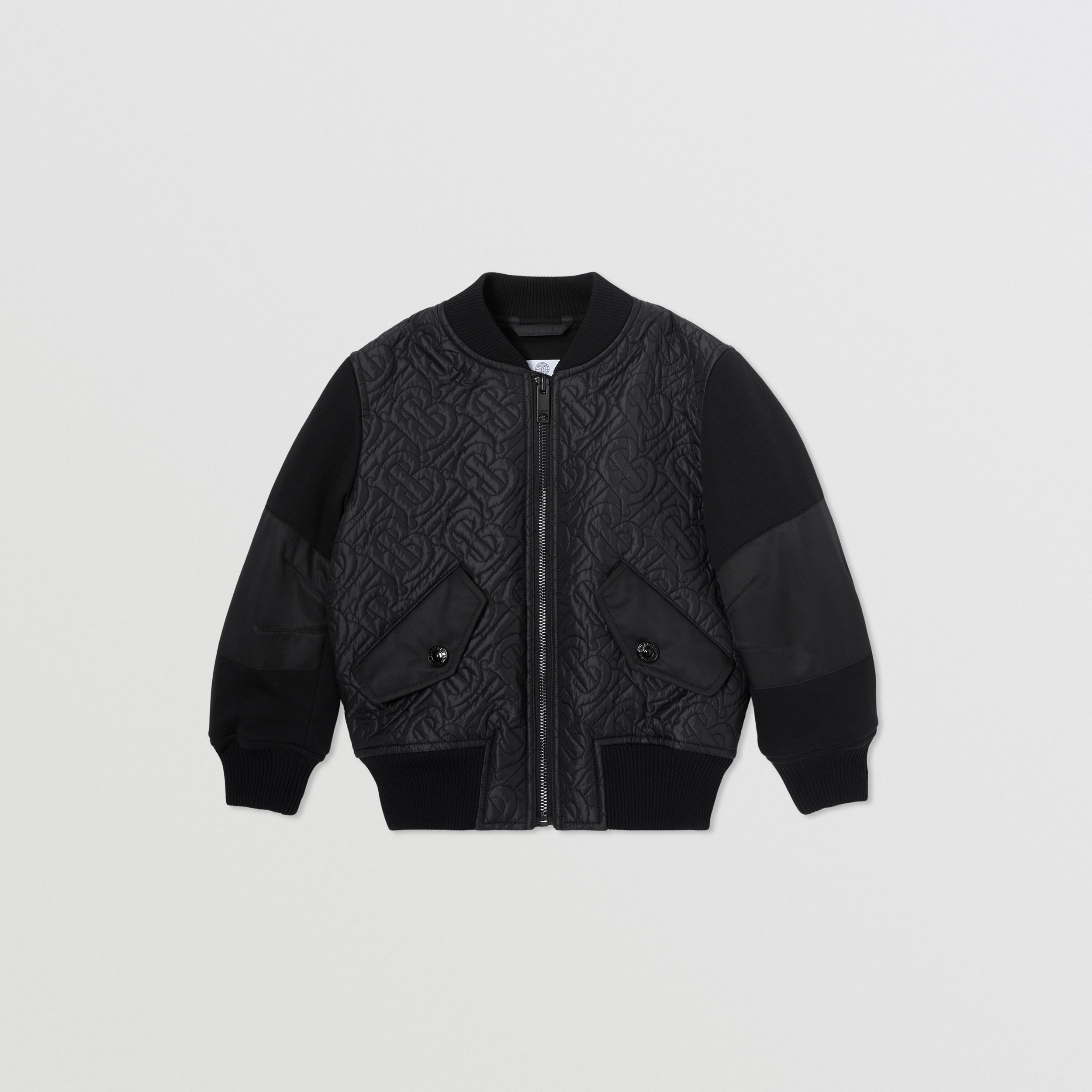 Monogram Quilted Recycled Polyester Bomber Jacket in Black | Burberry - 1