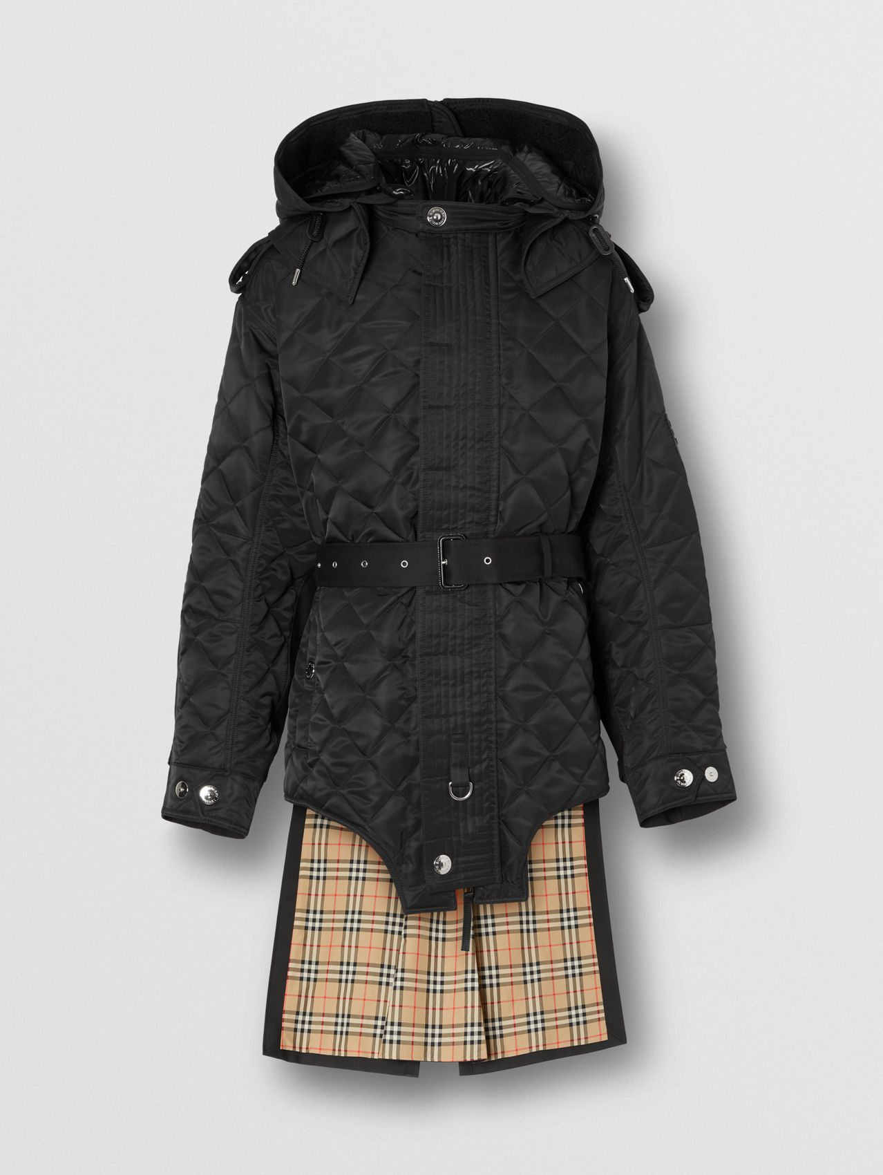 Detachable Hood Quilted Nylon and Cotton Coat in Black/black