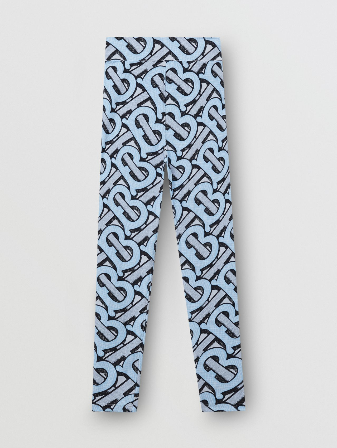 Monogram Print Stretch Nylon Leggings in Pale Azure
