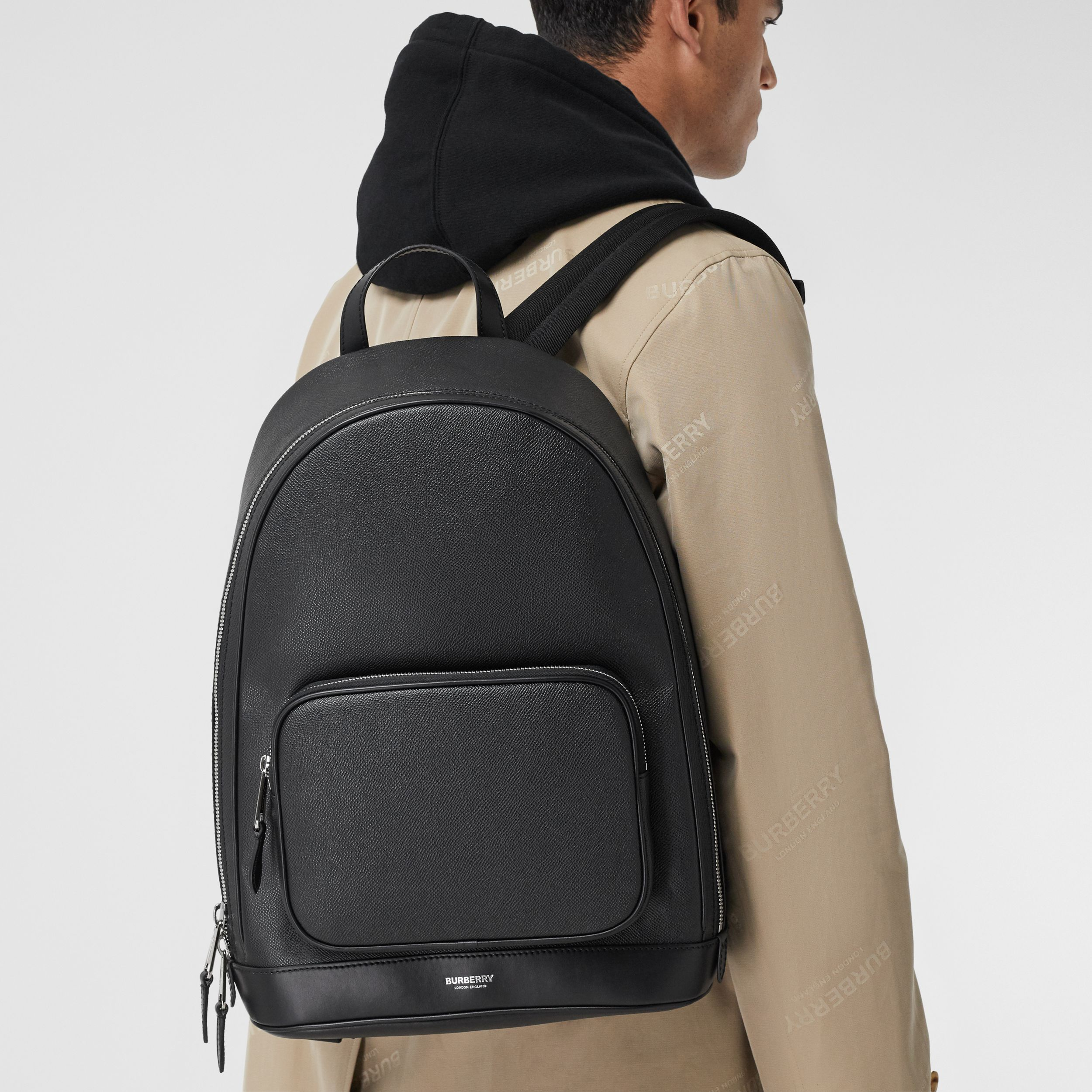 Grainy Leather Backpack in Black - Men | Burberry Hong Kong S.A.R. - 4