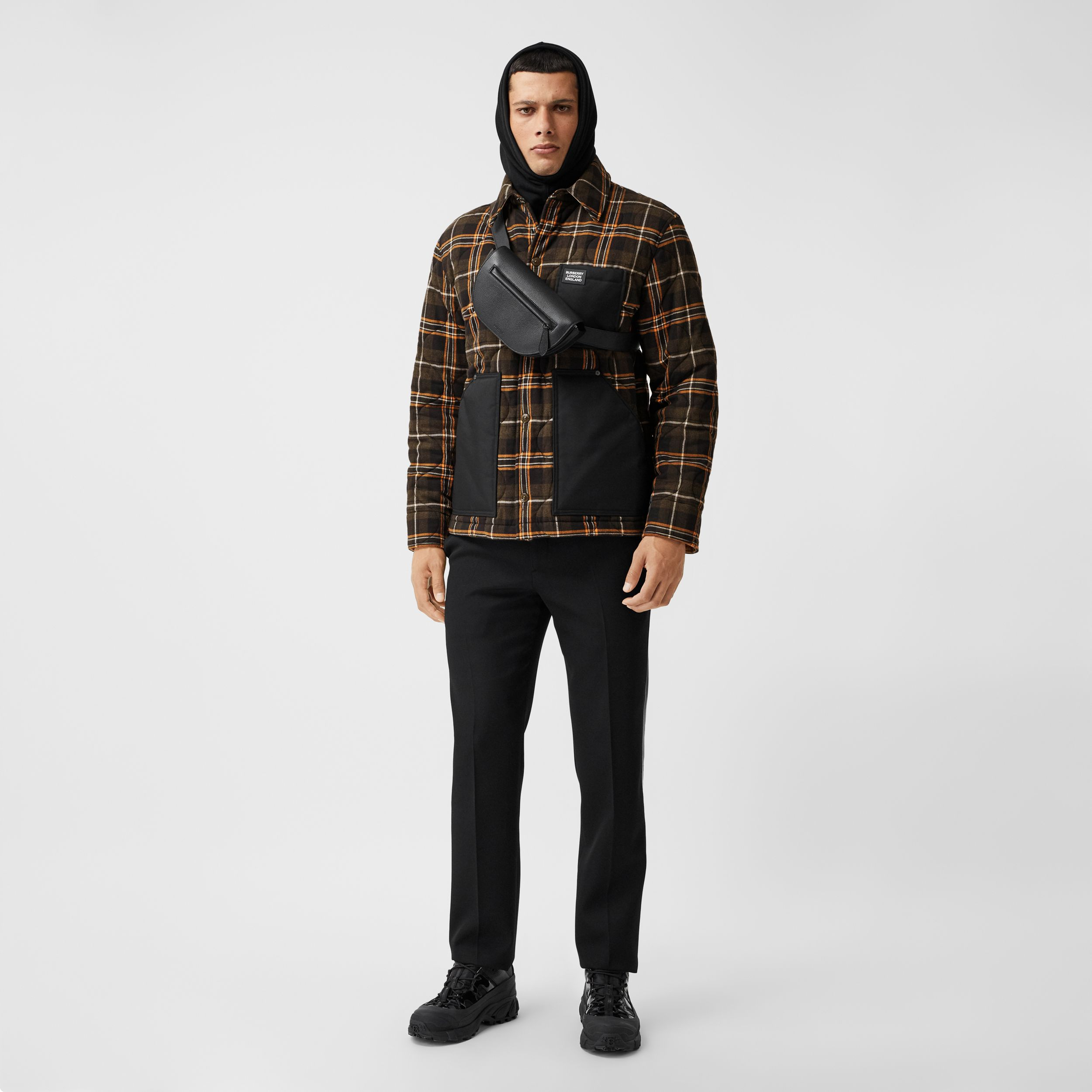 Contrast Pocket Check Cotton Flannel Overshirt in Olive - Men | Burberry - 1